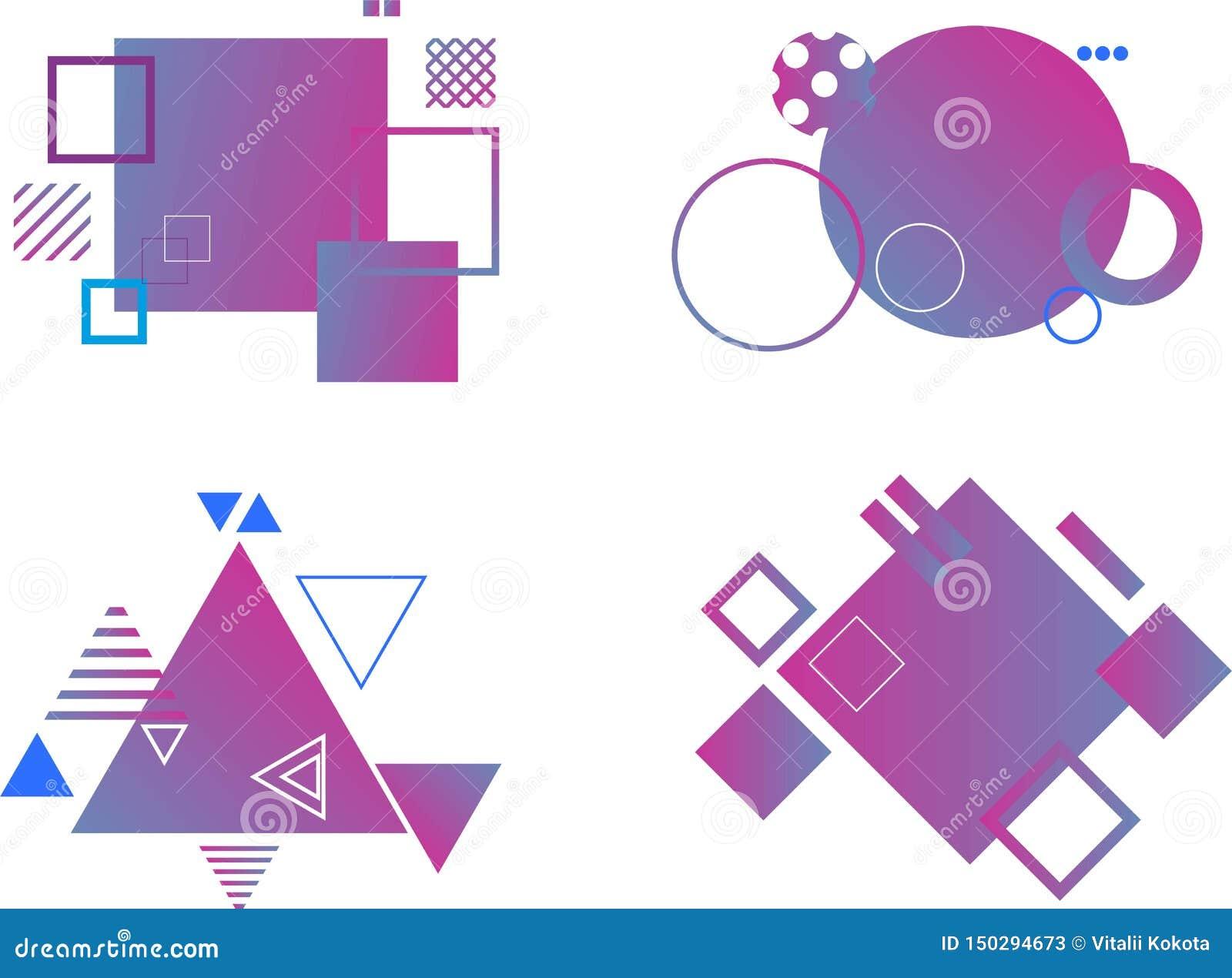 Reeks abstracte moderne grafische elementen Dynamische gekleurde vormen en lijn Gradi?nt abstracte banners met stromende vloeisto