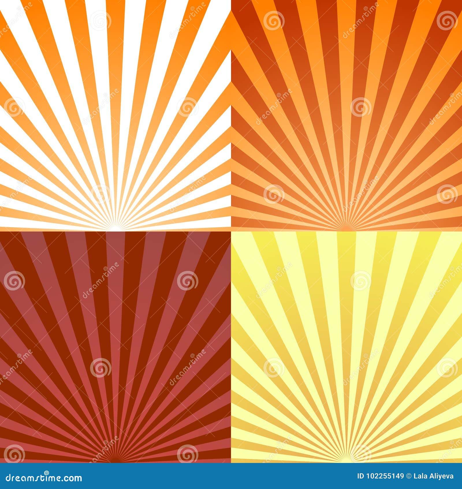 Reeks achtergrondstraal of abstracte zonstralen De vastgestelde uitbarsting van de textuurstraal en retro stralenachtergrond Vect