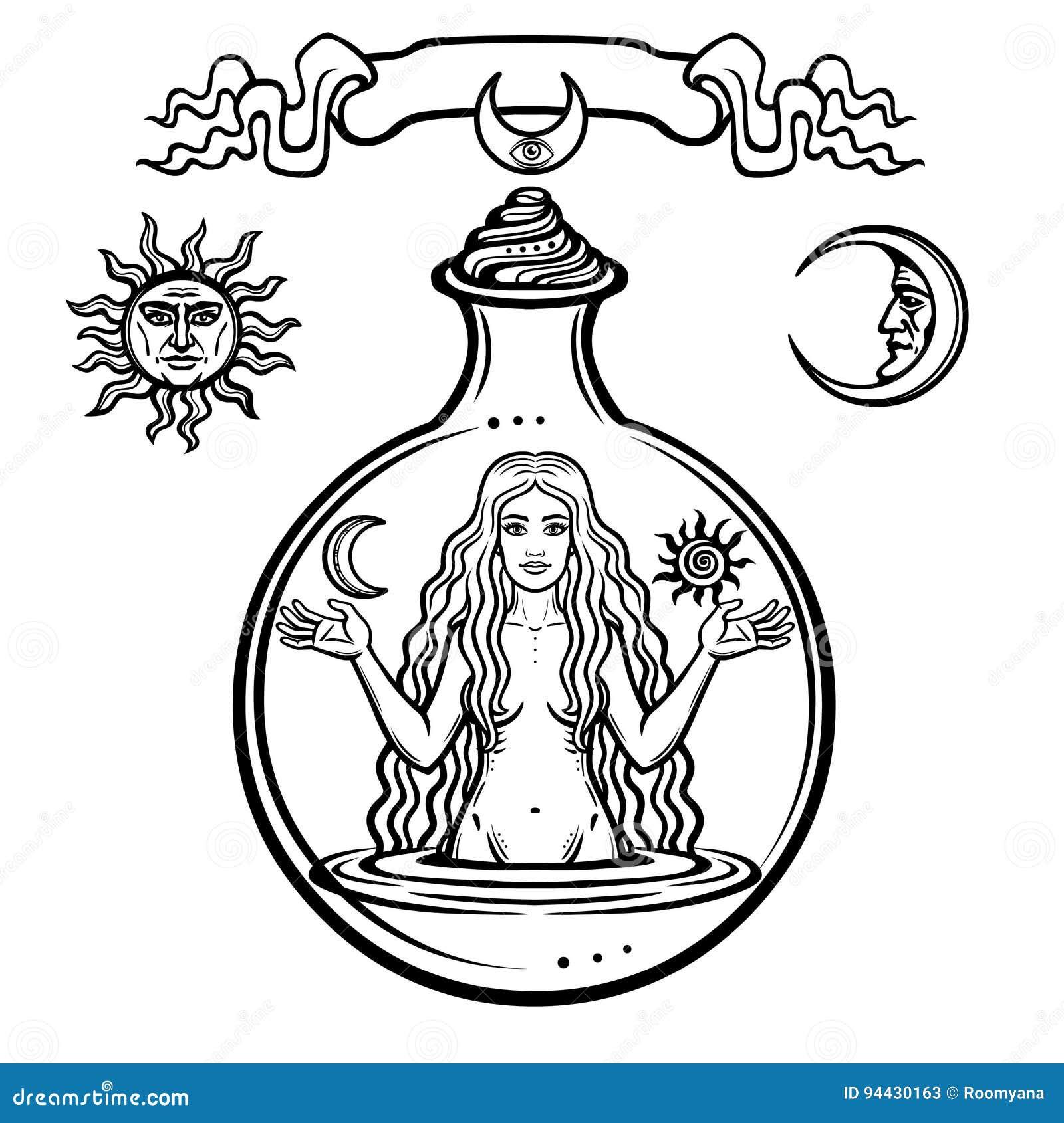 Reeks alchemistische symbolen: de jonge mooie vrouw houdt zon en maan in hand Vooravond` s beeld, vruchtbaarheid, verleiding