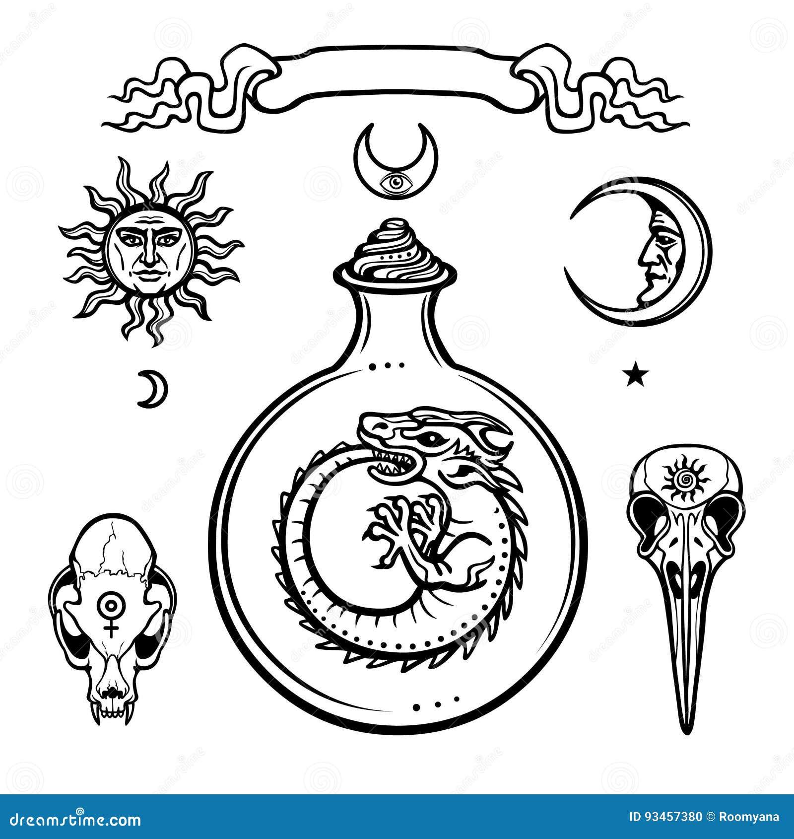 Reeks alchemistische symbolen Oorsprong van het leven Mystieke slangen in een reageerbuis Godsdienst, mystiek, occultisme, hekser