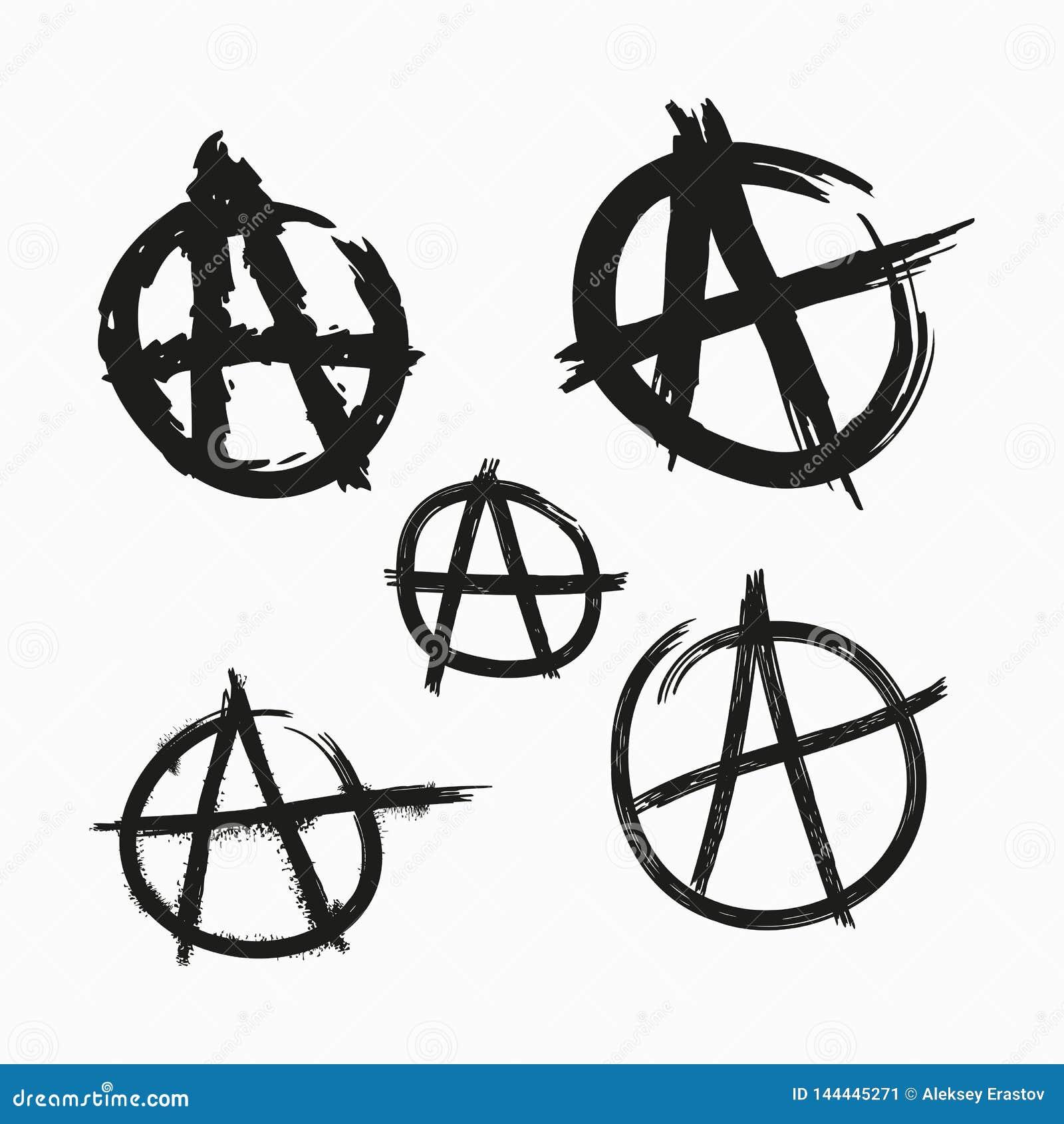 Reeks Anarchiesymbolen Geschilderd met ruwe grungeborstels Vector illustratie