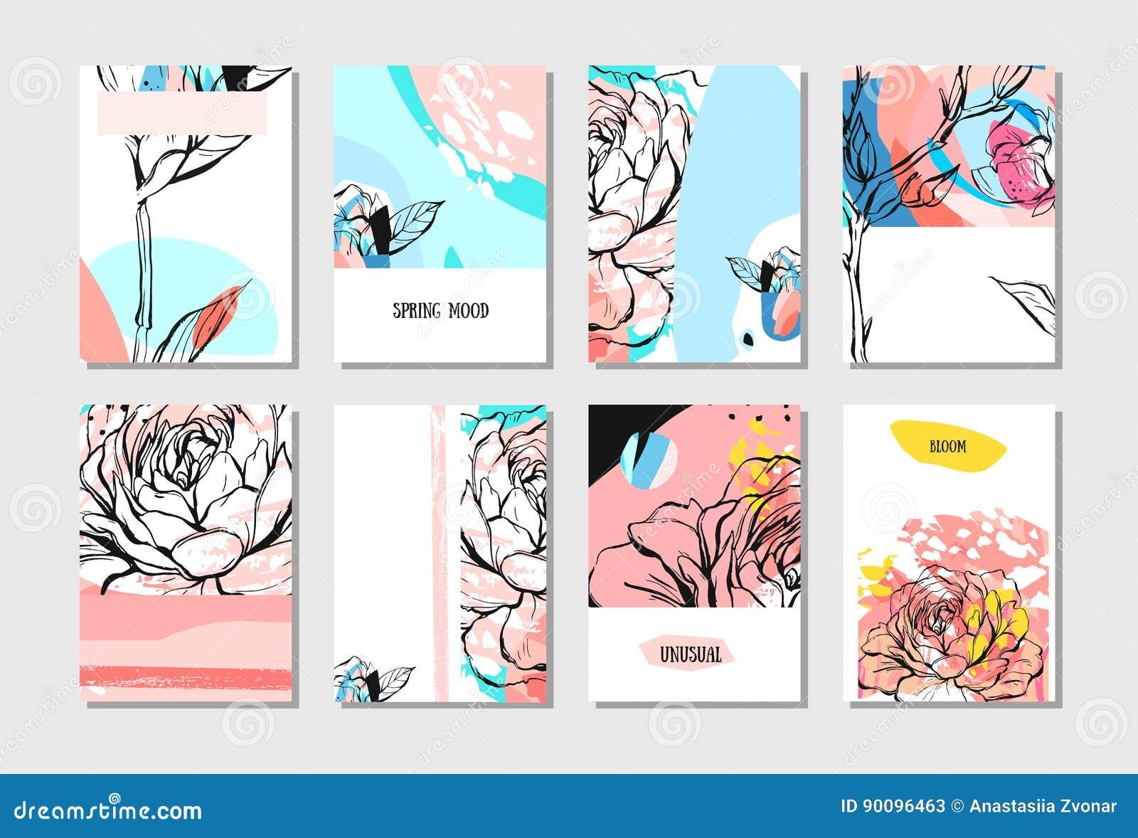 Reeks Artistieke Creatieve Universele Kaarten Hand Getrokken