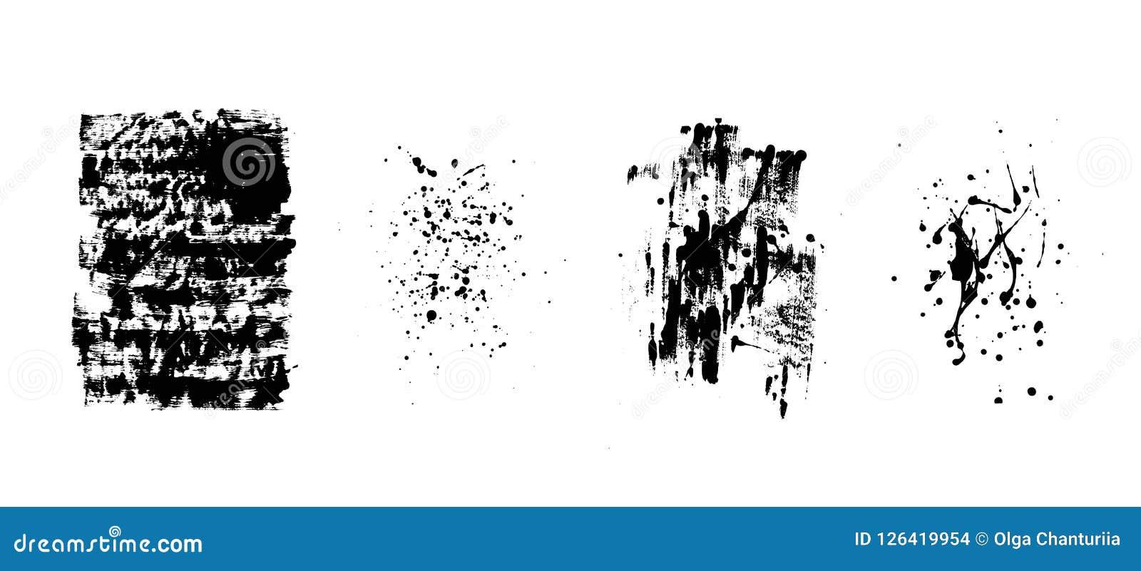 Reeks artistieke zwarte grungeachtergronden Vector textuur Vuil artistiek ontwerpelement De borstelslag, ploetert