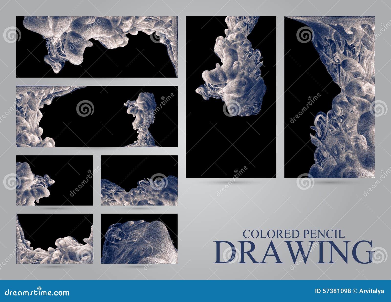 Reeks banners en adreskaartjes met abstracte wolken van inktdr.