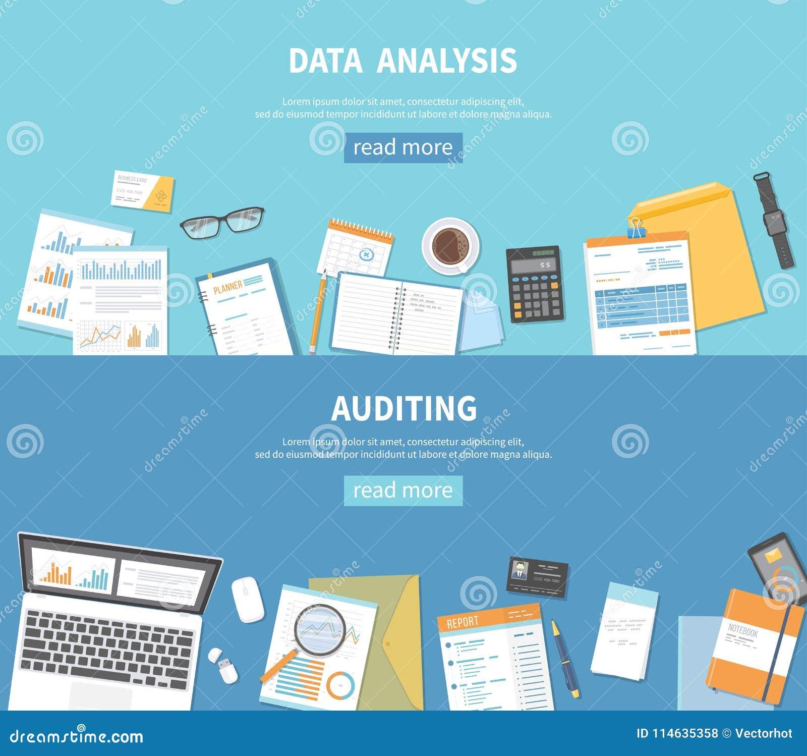 Reeks bannersachtergronden voor zaken en financiën Controle, gegevensanalyse, analytics, het rekenschap geven Documenten, omslage