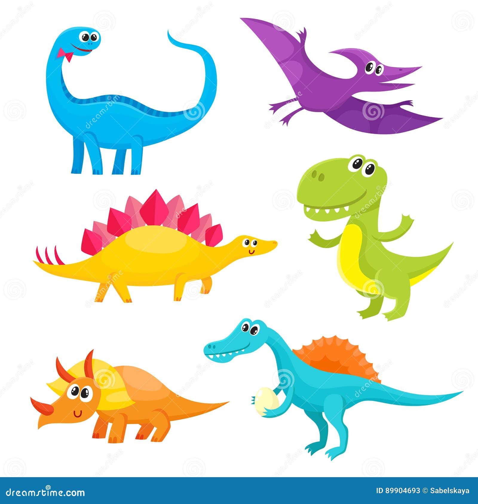 Reeks beeldverhaalstijl leuke en grappige het glimlachen babydinosaurussen