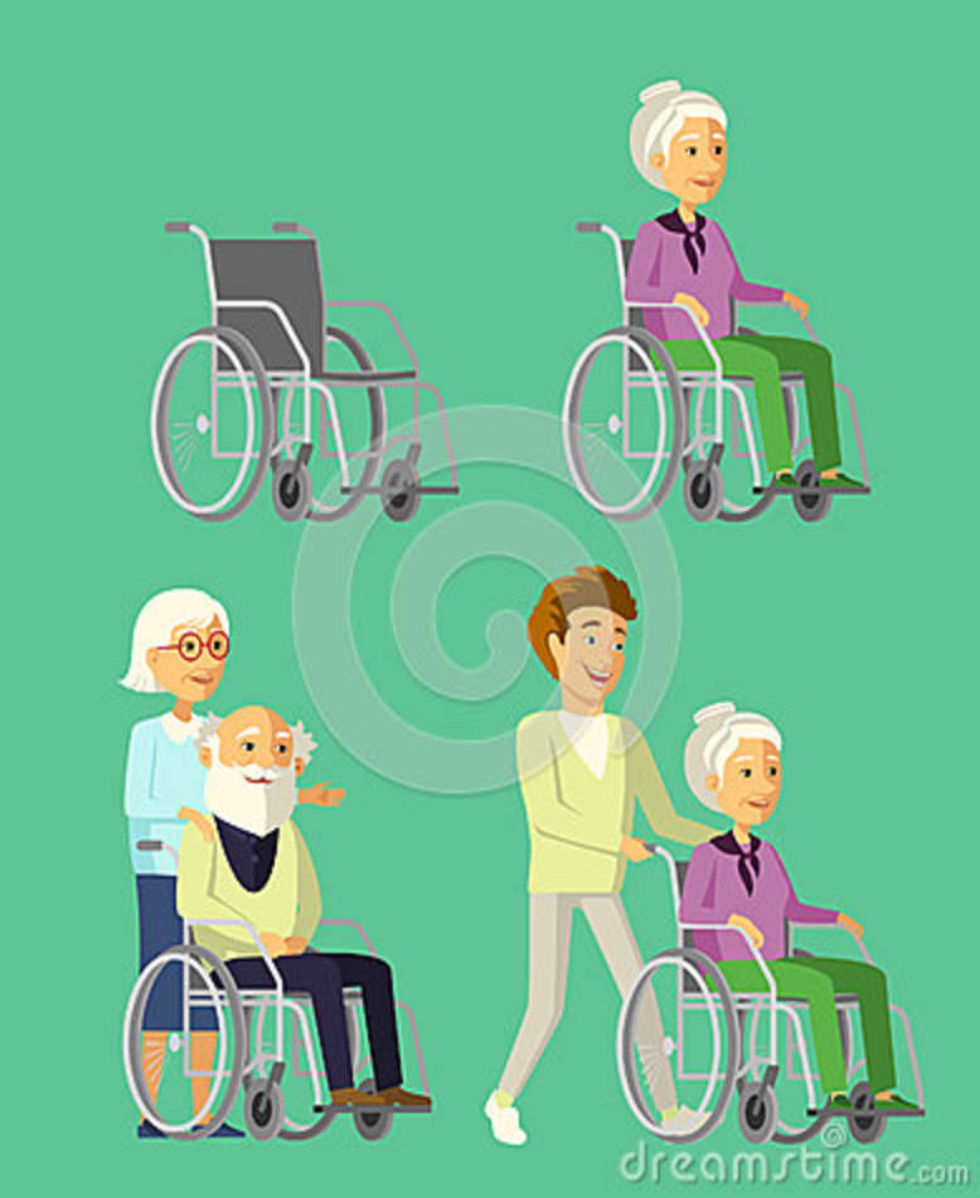 Reeks bejaarde mensen in rolstoel Maatschappelijk werker die met hogere vrouw in rolstoel wandelen