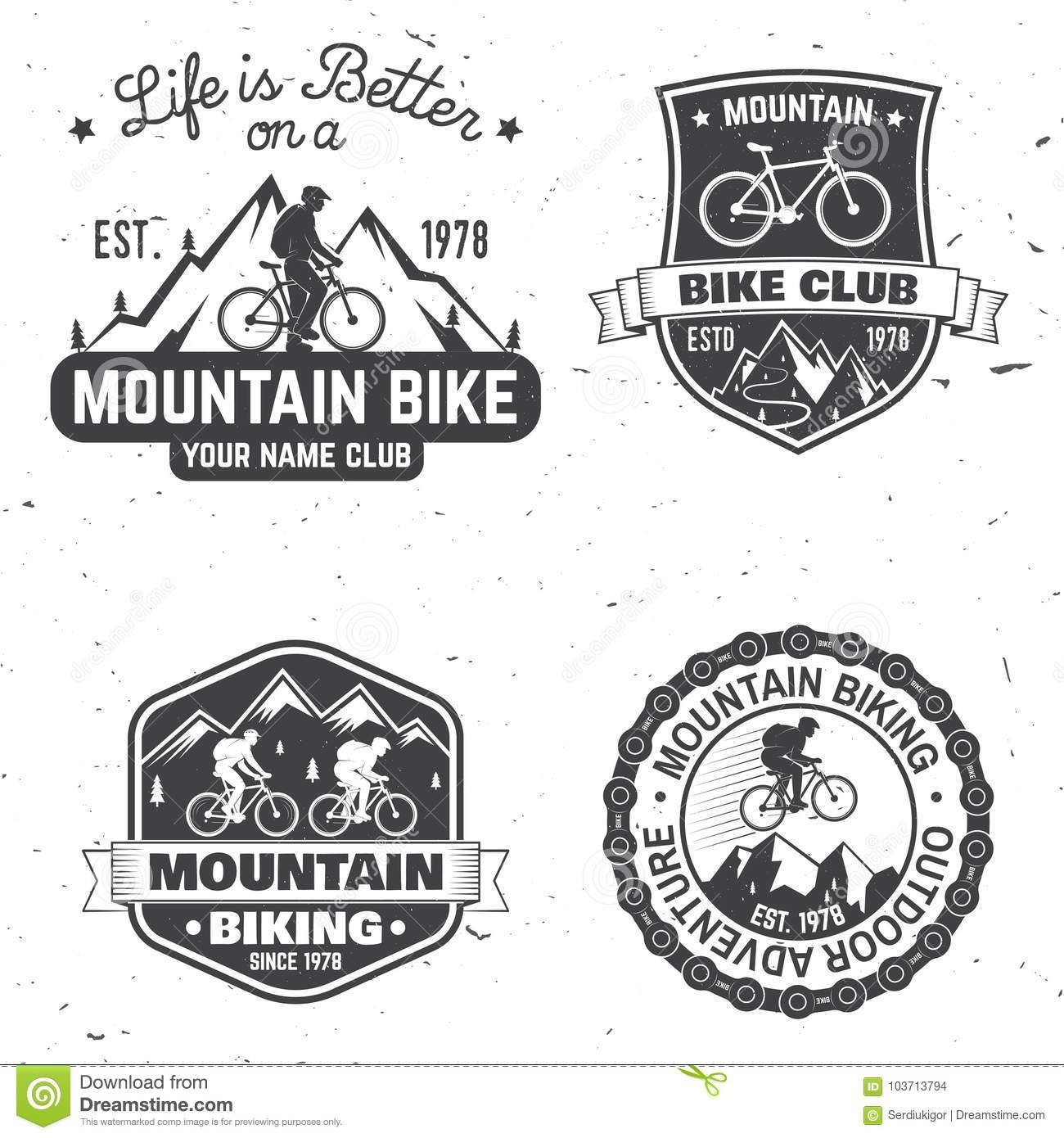 Reeks Berg biking clubs Vector illustratie