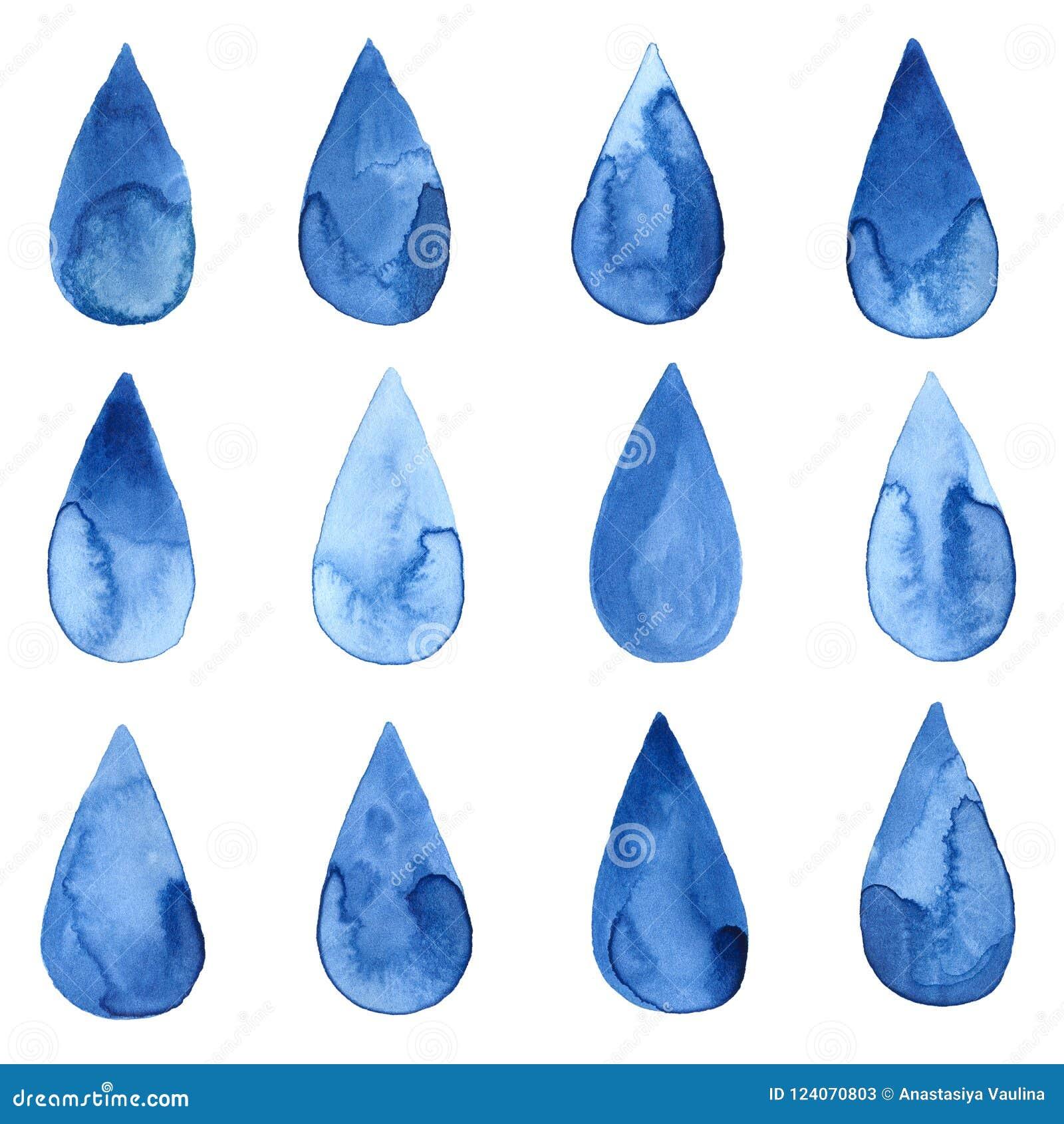 Reeks blauwe watercolourdalingen