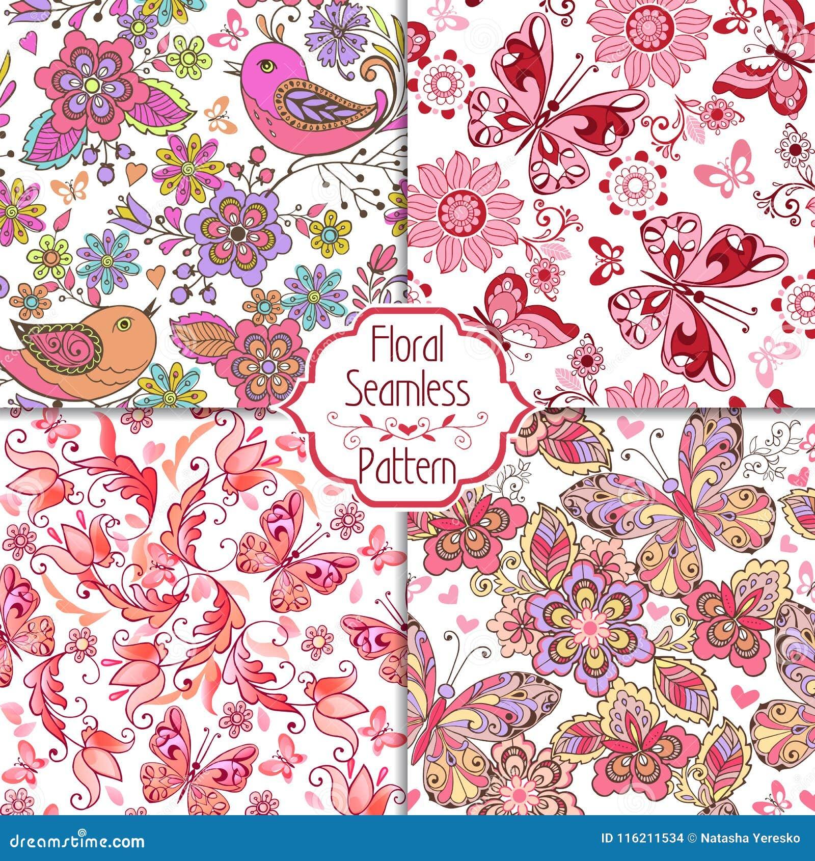 Reeks bloemen naadloze roze patronen met vogels, vlinders en harten Uitstekend bloemen naadloos ornament
