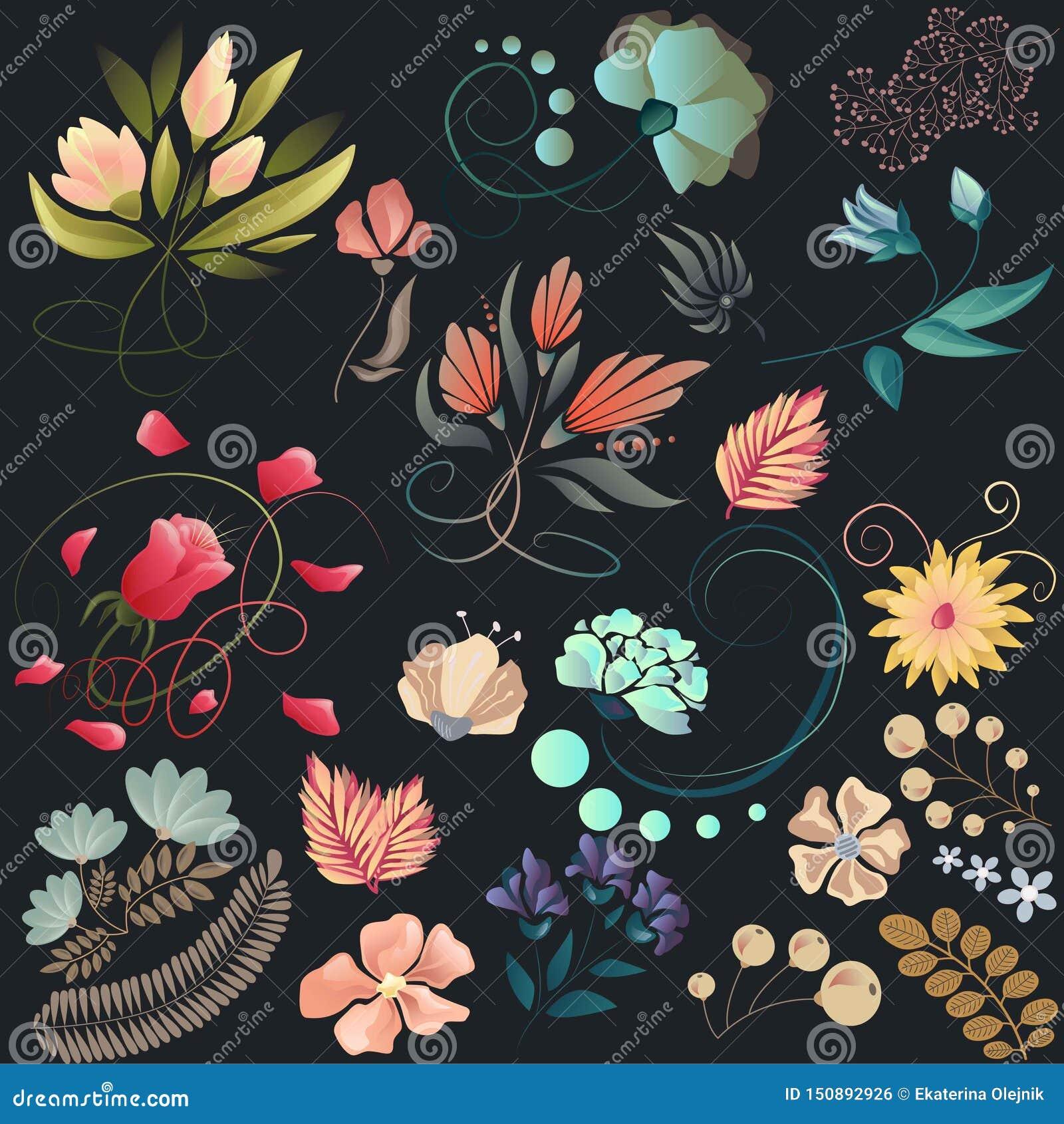 Reeks bloemen in vector Bloemenontwerp in uitstekende kleuren