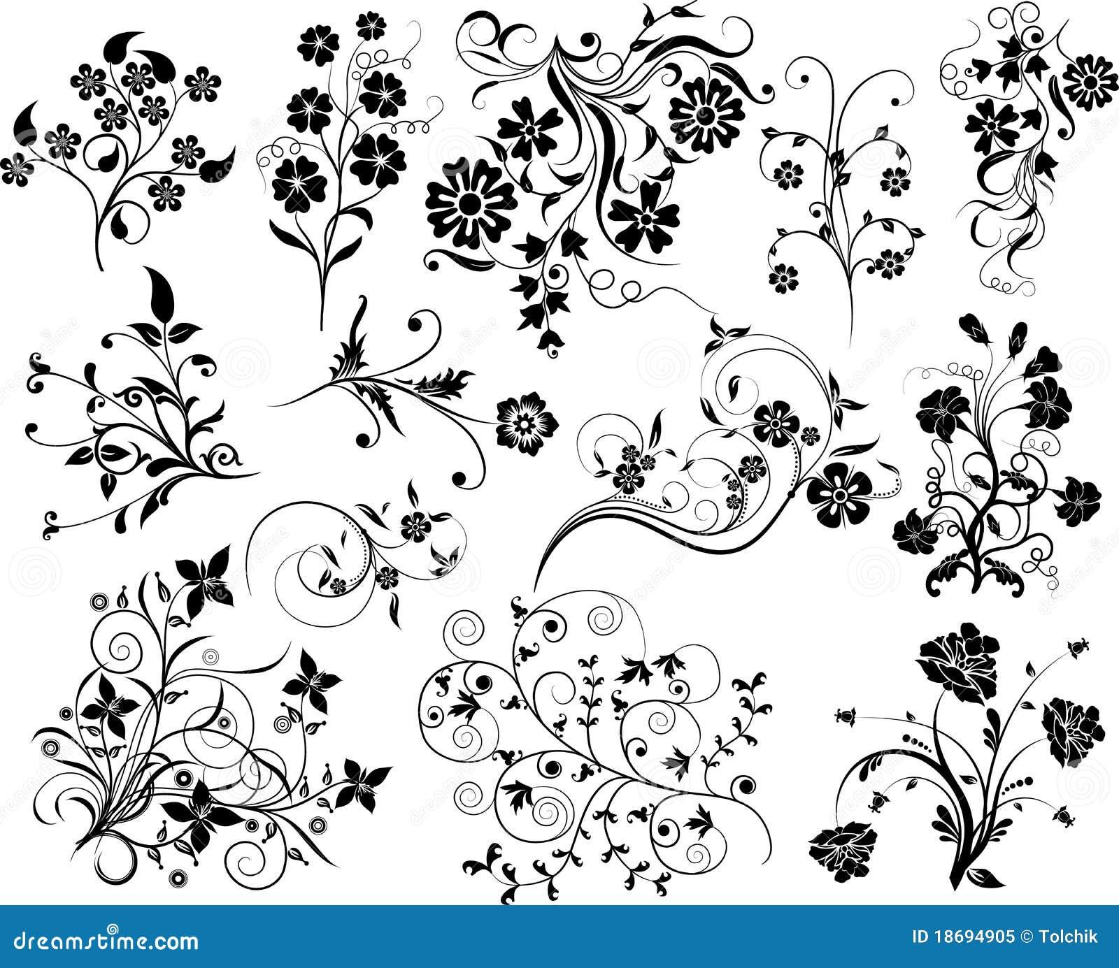 Reeks bloemenelementen voor ontwerp,