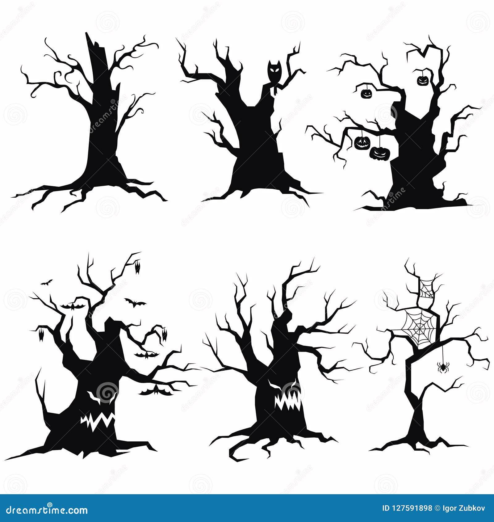 Reeks boomsilhouetten voor Halloween Een inzameling van monsterbomen met knuppels en pompoenen Rebecca 36