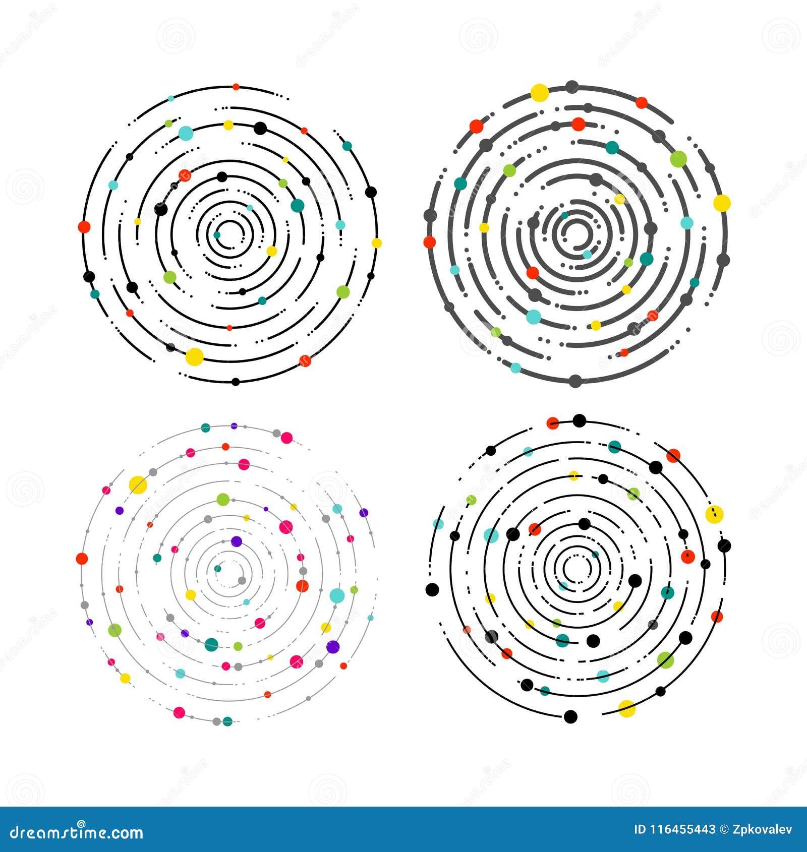 Reeks cirkellijnen en kleurenpunten Cirkellijnen grafisch patroon, gestormde lijnrimpelingen Geometrisch concentrisch element, ra