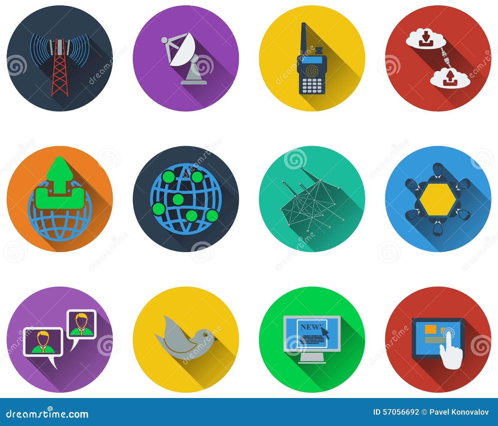 Reeks communicatie pictogrammen in vlakke designg