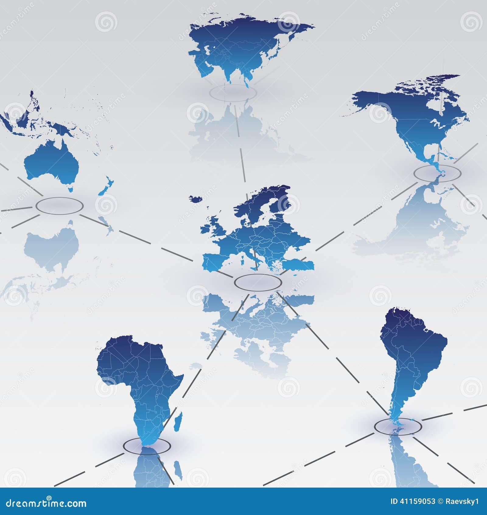 Reeks continenten van de wereldkaart met schaduwvector