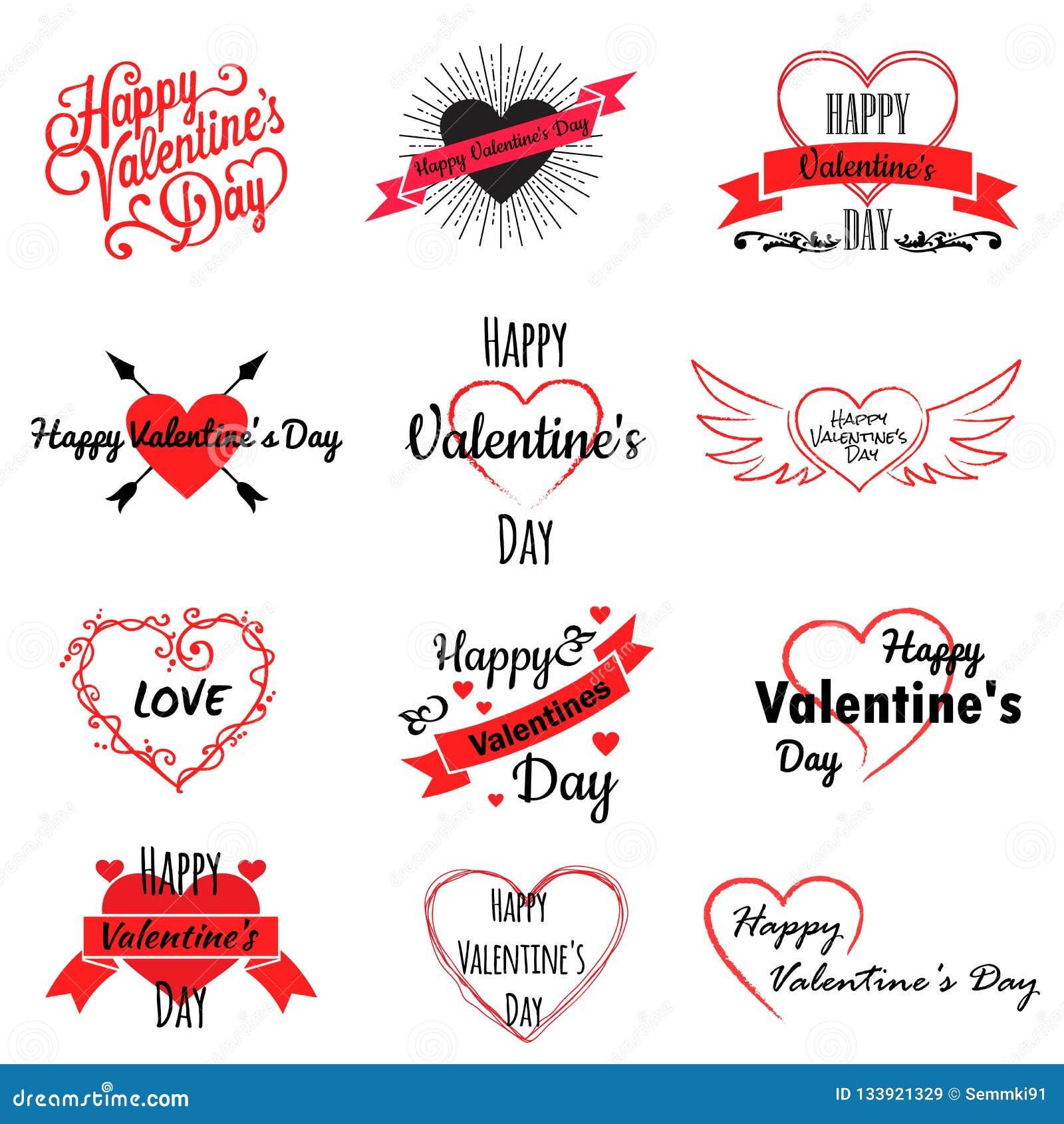 Reeks de emblemen van de valentijnskaartdag, pictogrammen met harten en inschrijvingen, vectorillustratie