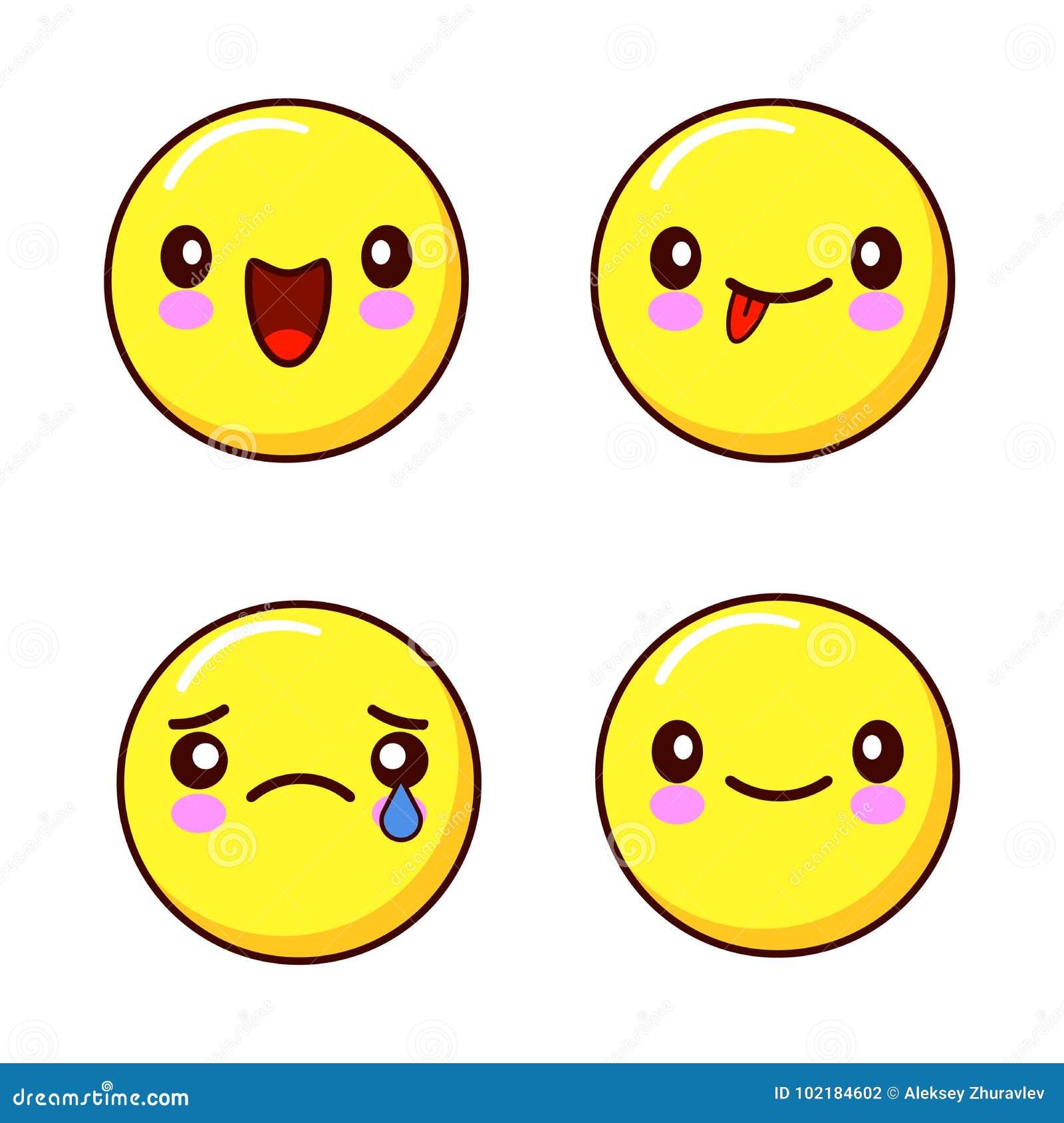 Reeks de pictogrammen van het smileygezicht of gele emoticons met verschillende gelaatsuitdrukkingen die ik op witte achtergrond