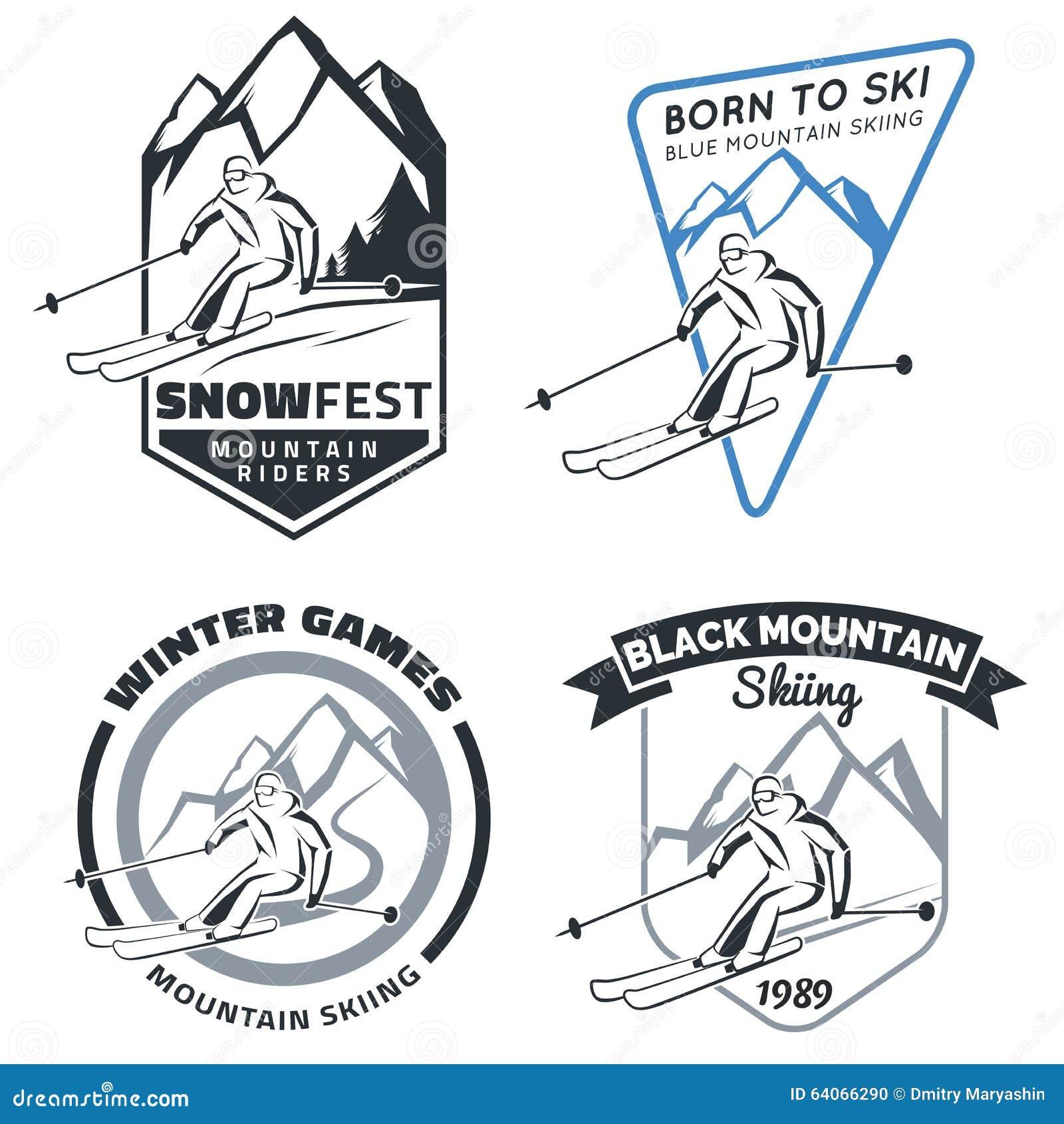 Reeks de skiemblemen, kentekens en pictogrammen van de de winterberg