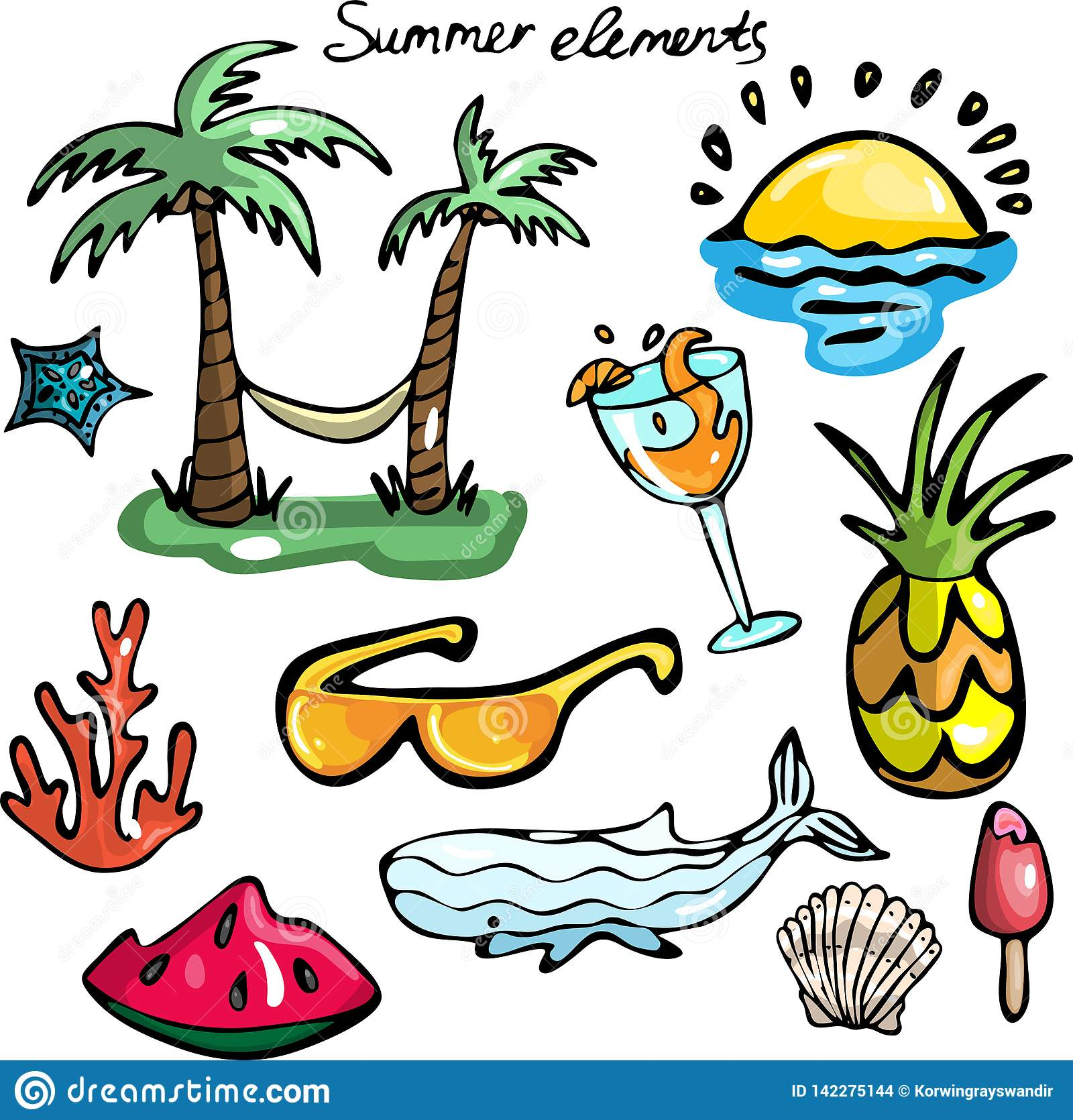 Reeks de zomerelementen