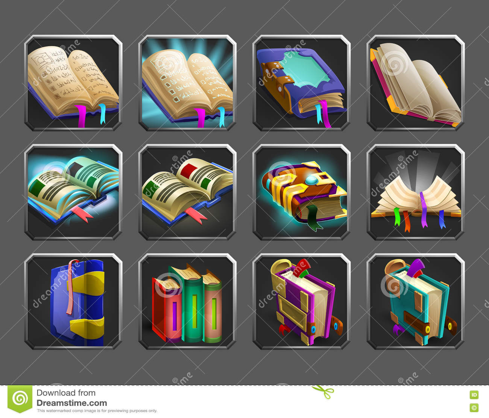 Reeks decoratiepictogrammen voor spelen Inzameling van magische boeken
