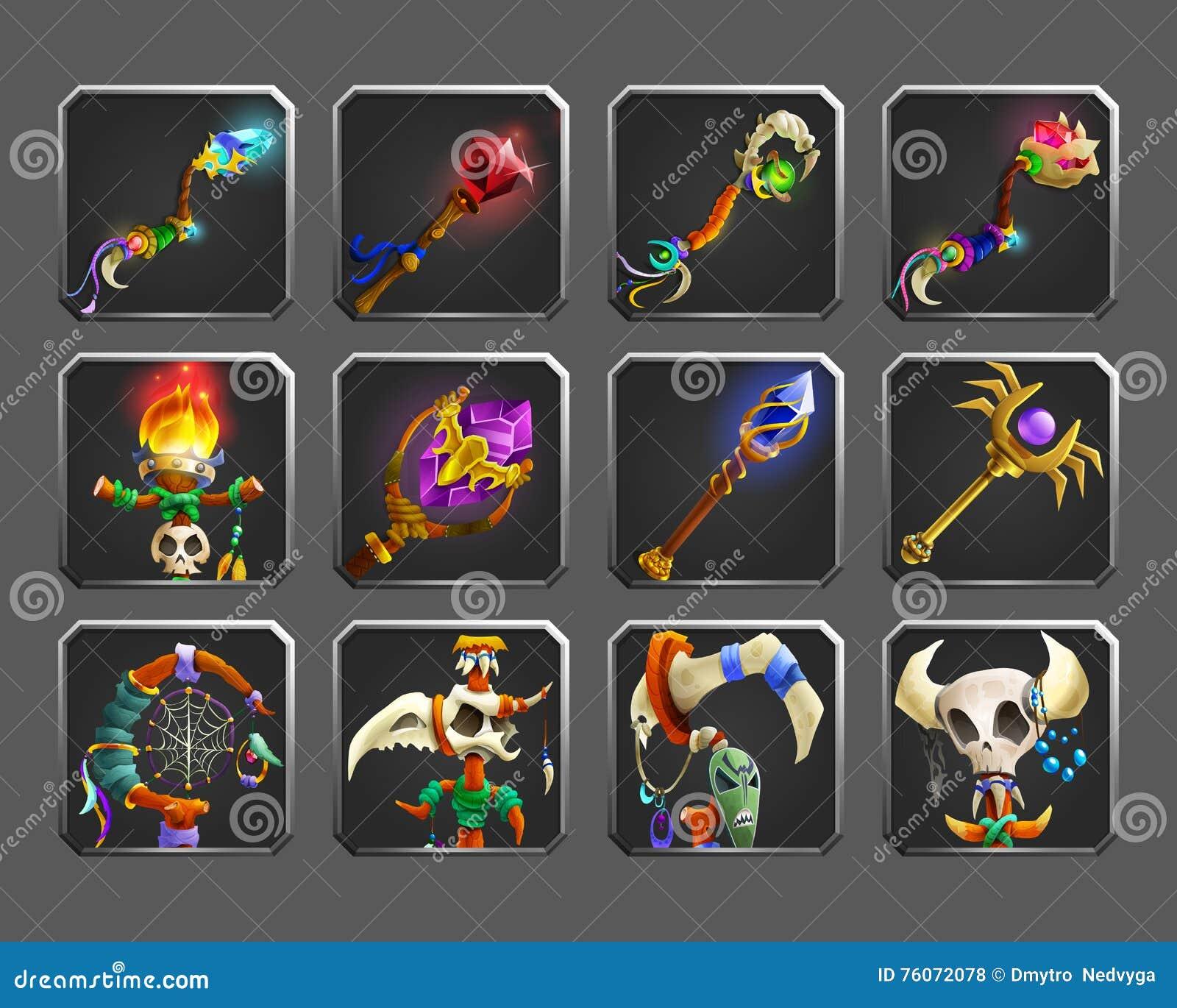 Reeks decoratiepictogrammen voor spelen Inzameling van middeleeuwse magische wapens
