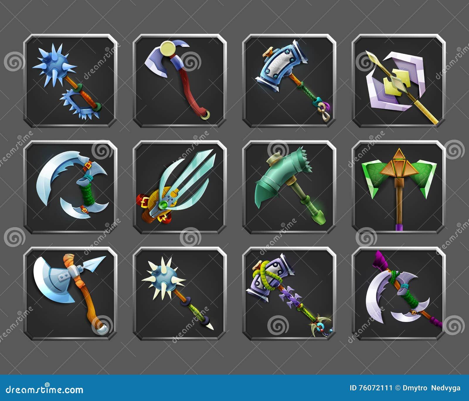 Reeks decoratiepictogrammen voor spelen Inzameling van middeleeuwse wapens