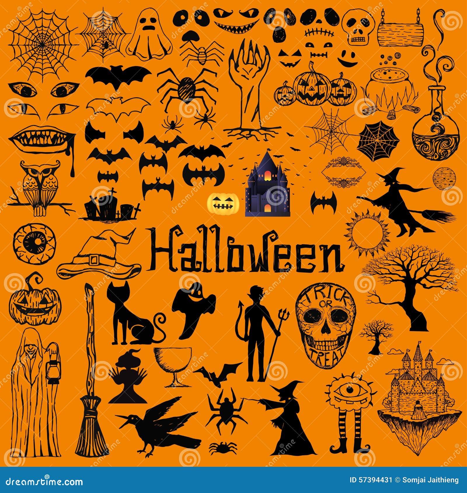Reeks decoratieve elementen van Halloween Hand getrokken pictogrammen