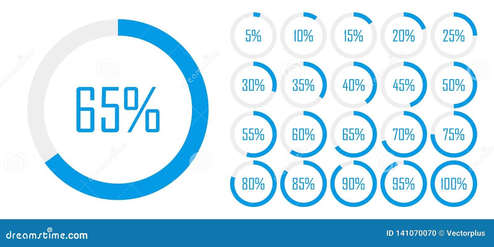 Reeks diagrammen van het cirkelpercentage van 0 tot 100 voor Webontwerp, gebruikersui interface of infographic - indicator met bl
