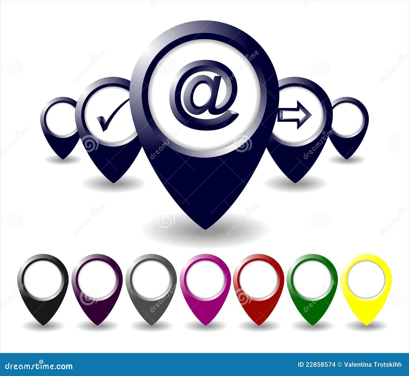Reeks die van Gekleurde Markering Pictogrammen richt