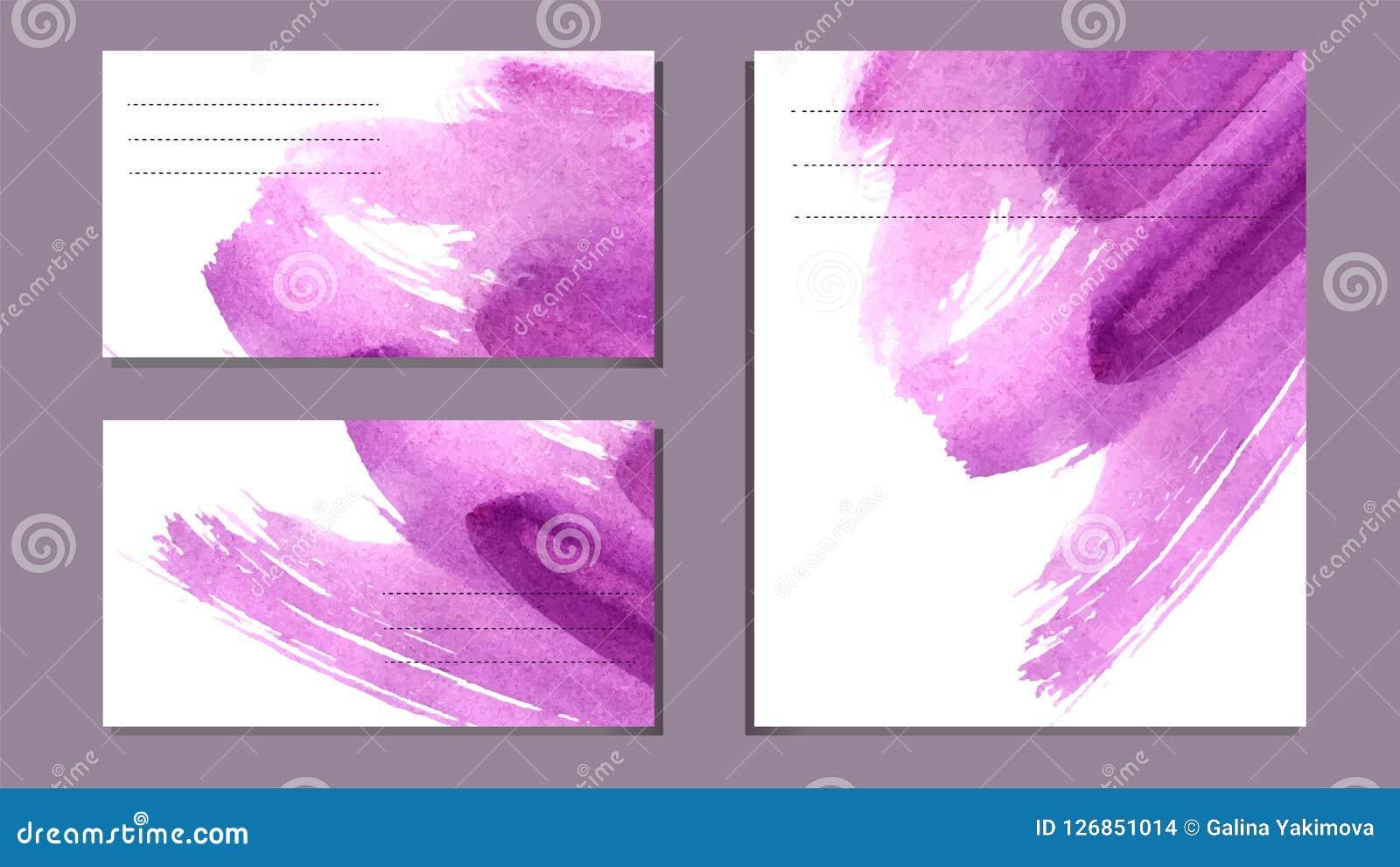 Reeks diverse adreskaartjes, schema s - abstracte heldere purpere vectorachtergrond, waterverfimitatie, borsteltextuur