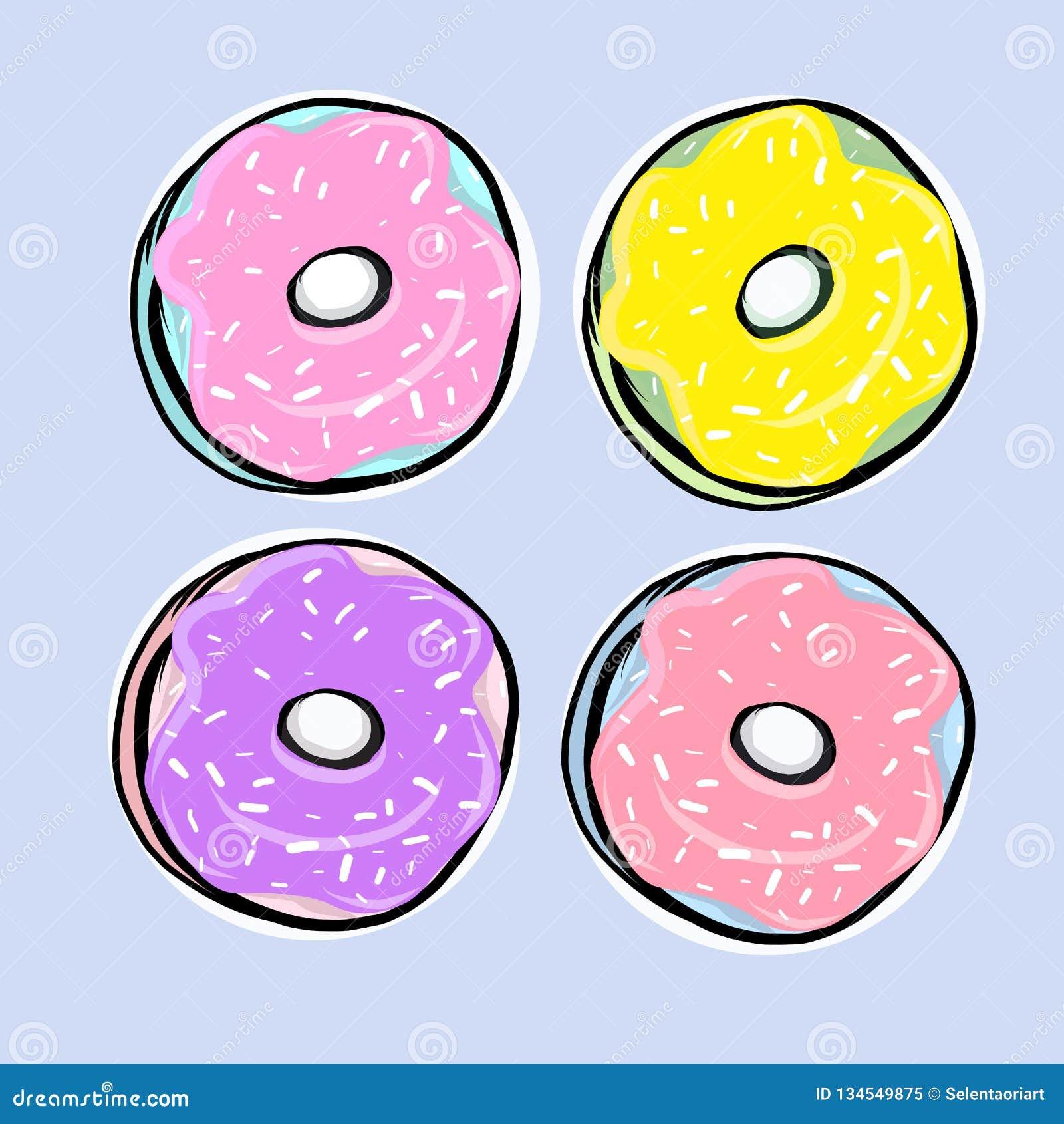 Reeks donuts met suikerglazuur