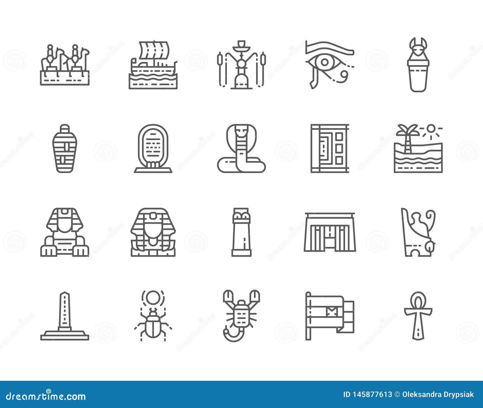 Reeks Egyptische Pictogrammen van de Cultuurlijn Caravan, Waterpijp, Brij, Schorpioen en meer