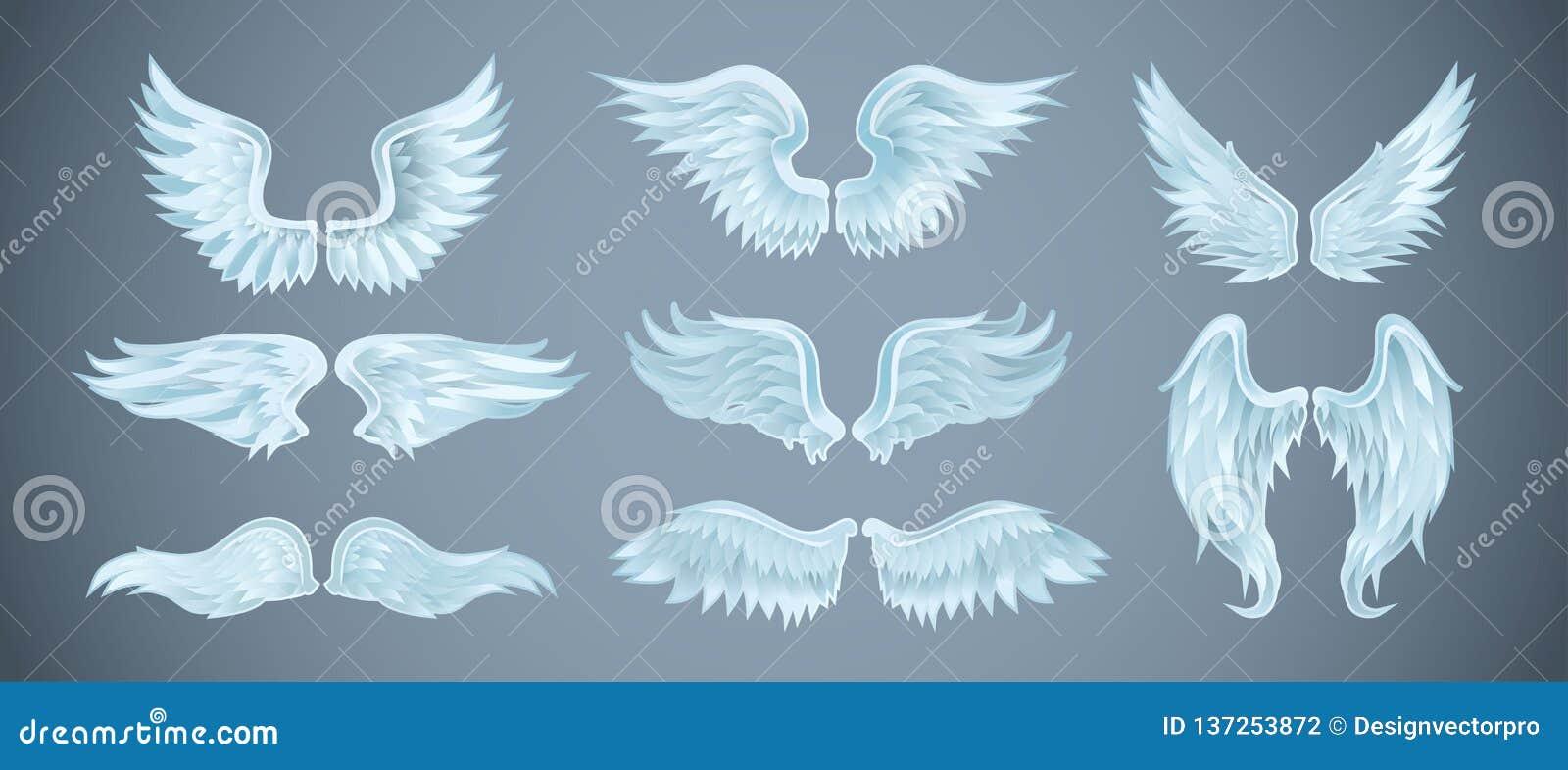Reeks engelenvleugels met verschillende vormen Vector illustratie