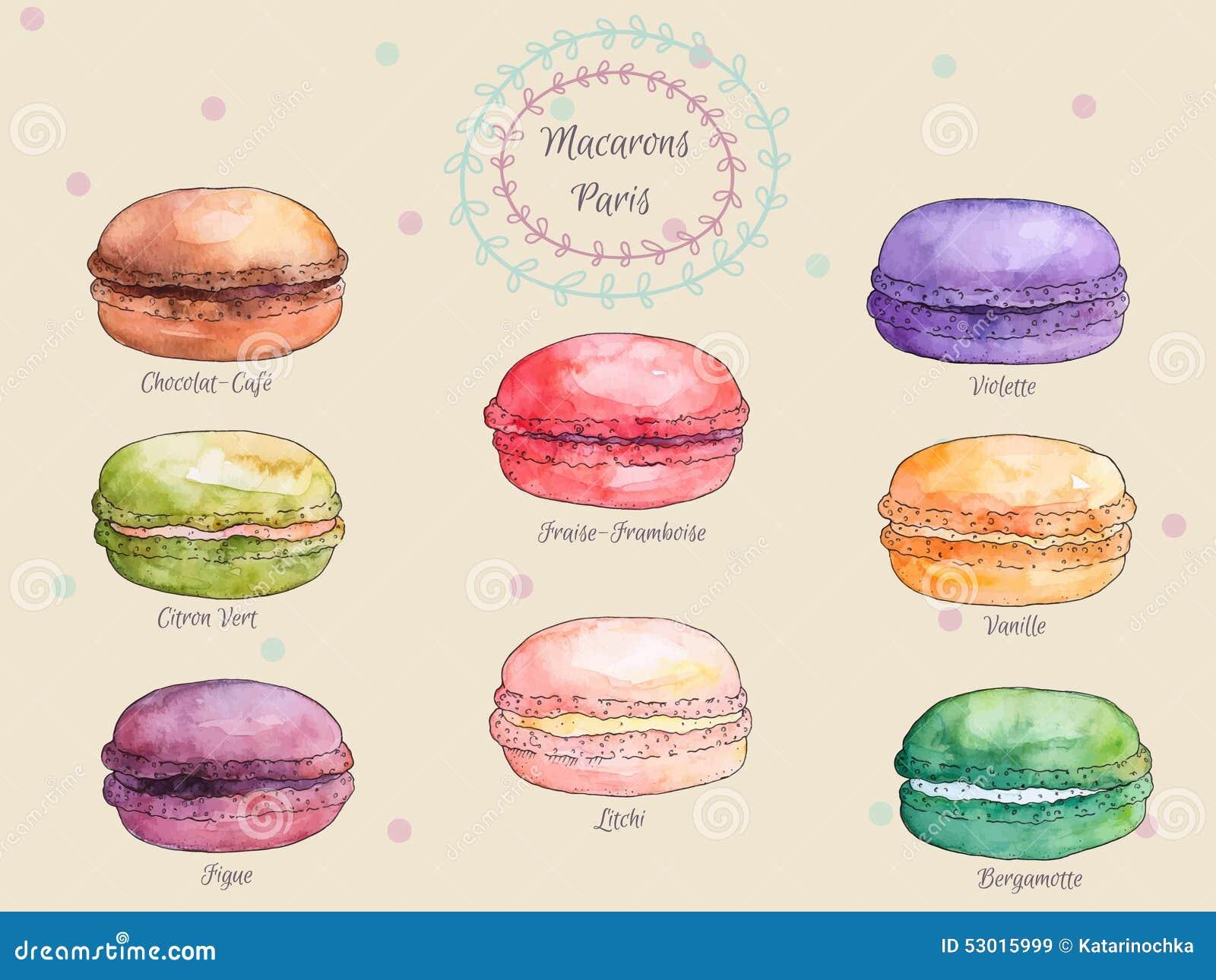 Reeks Franse makarons van de waterverf verschillende smaak, inzameling van variatie kleurrijke Franse macarons