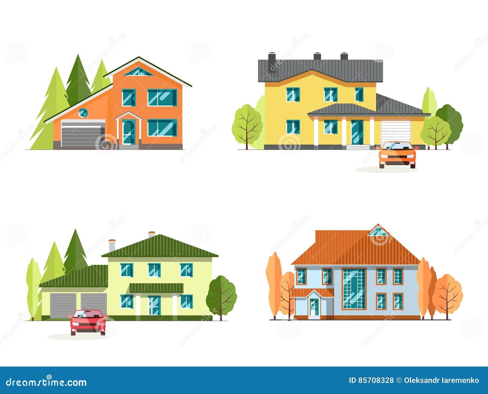 Reeks gedetailleerde kleurrijke plattelandshuisjehuizen Dit is dossier van EPS10-formaat Vlakke stijl moderne gebouwen