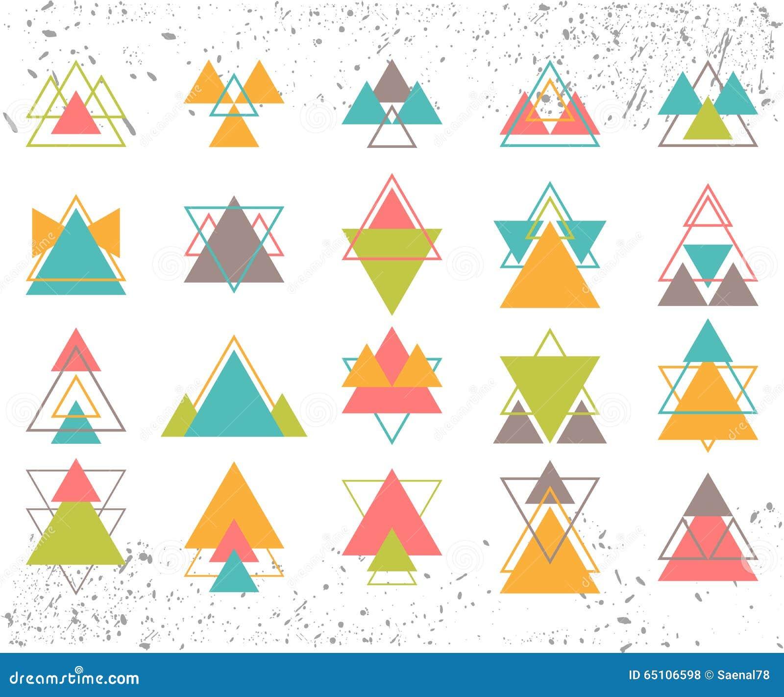 Reeks gekleurde geometrische vormendriehoeken, lijnen voor uw ontwerp