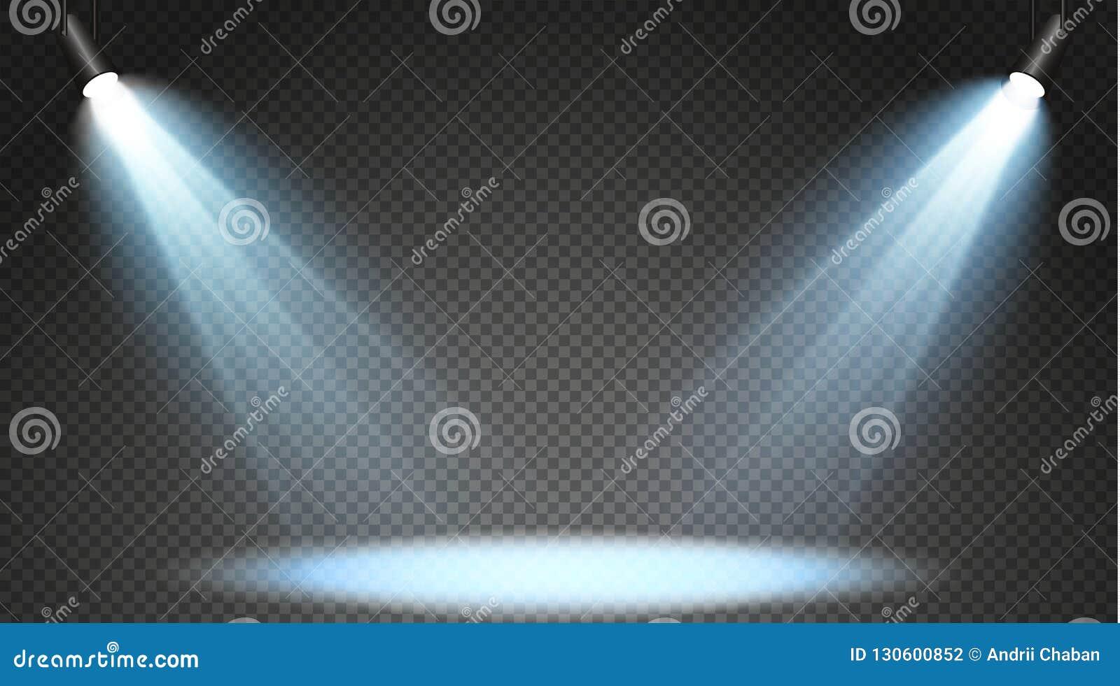 Reeks gekleurde zoeklichten op een transparante achtergrond Heldere verlichting met schijnwerpers Het zoeklicht is wit, blauw