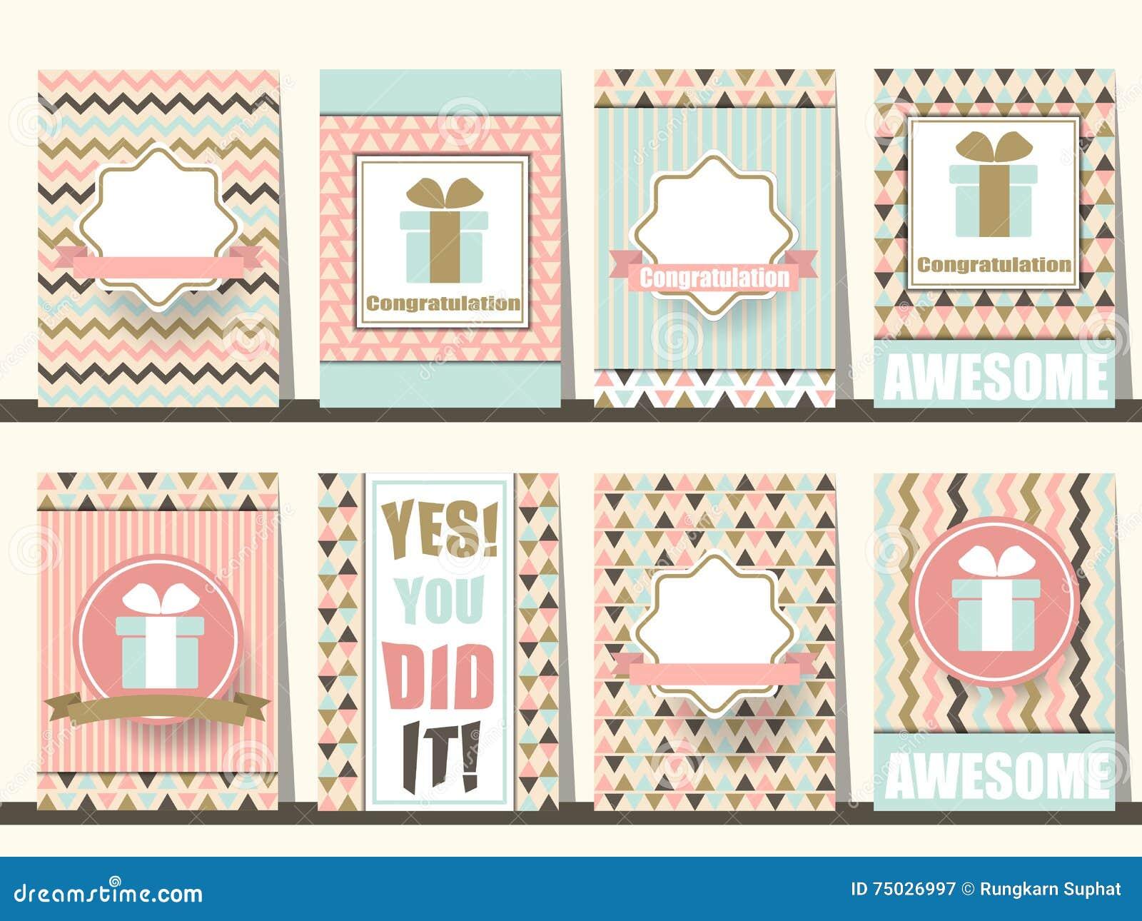 Reeks Gelukwensbrochures in uitstekende stijl Vector eps10