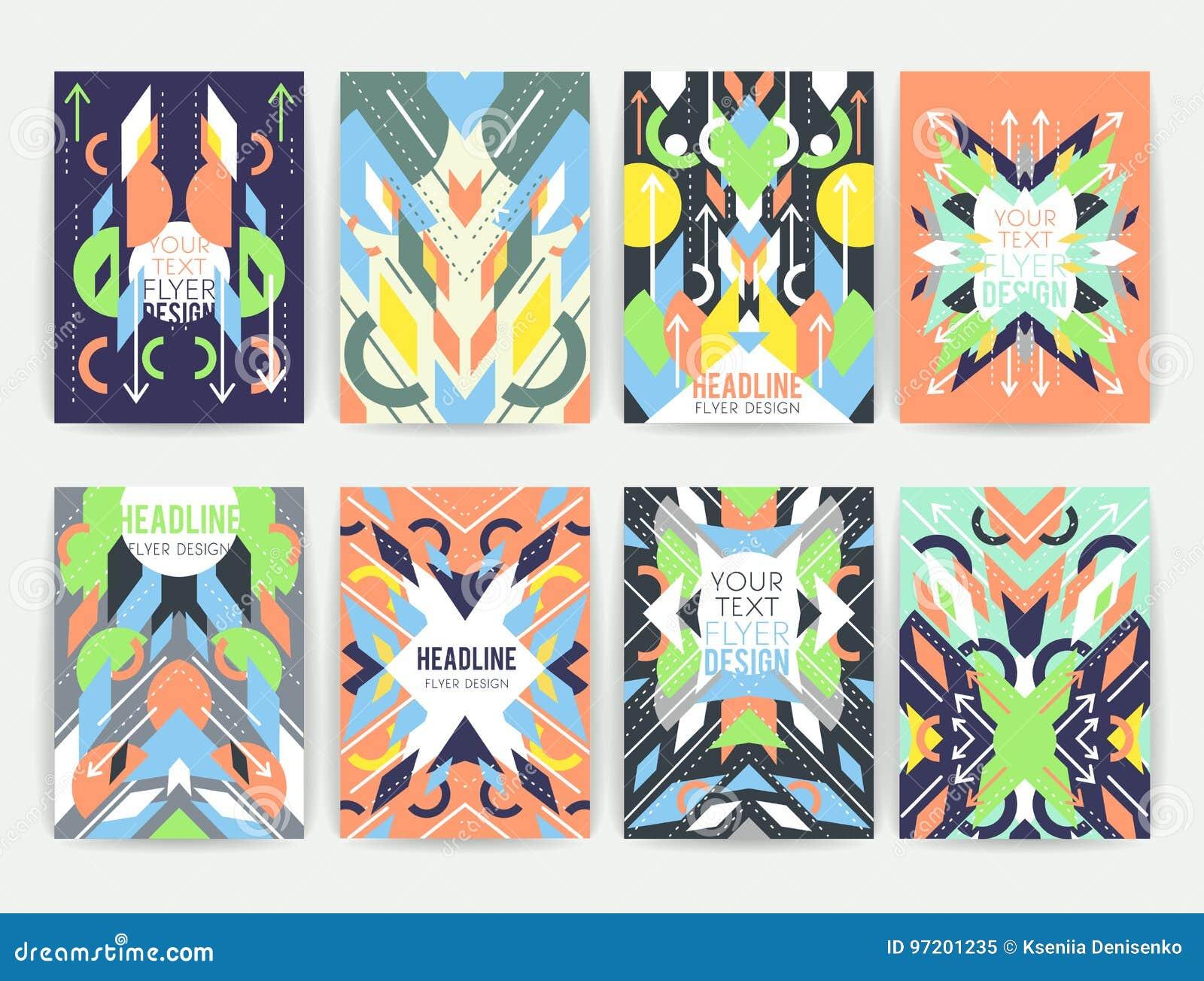 Reeks geometrische abstracte kleurrijke vliegers