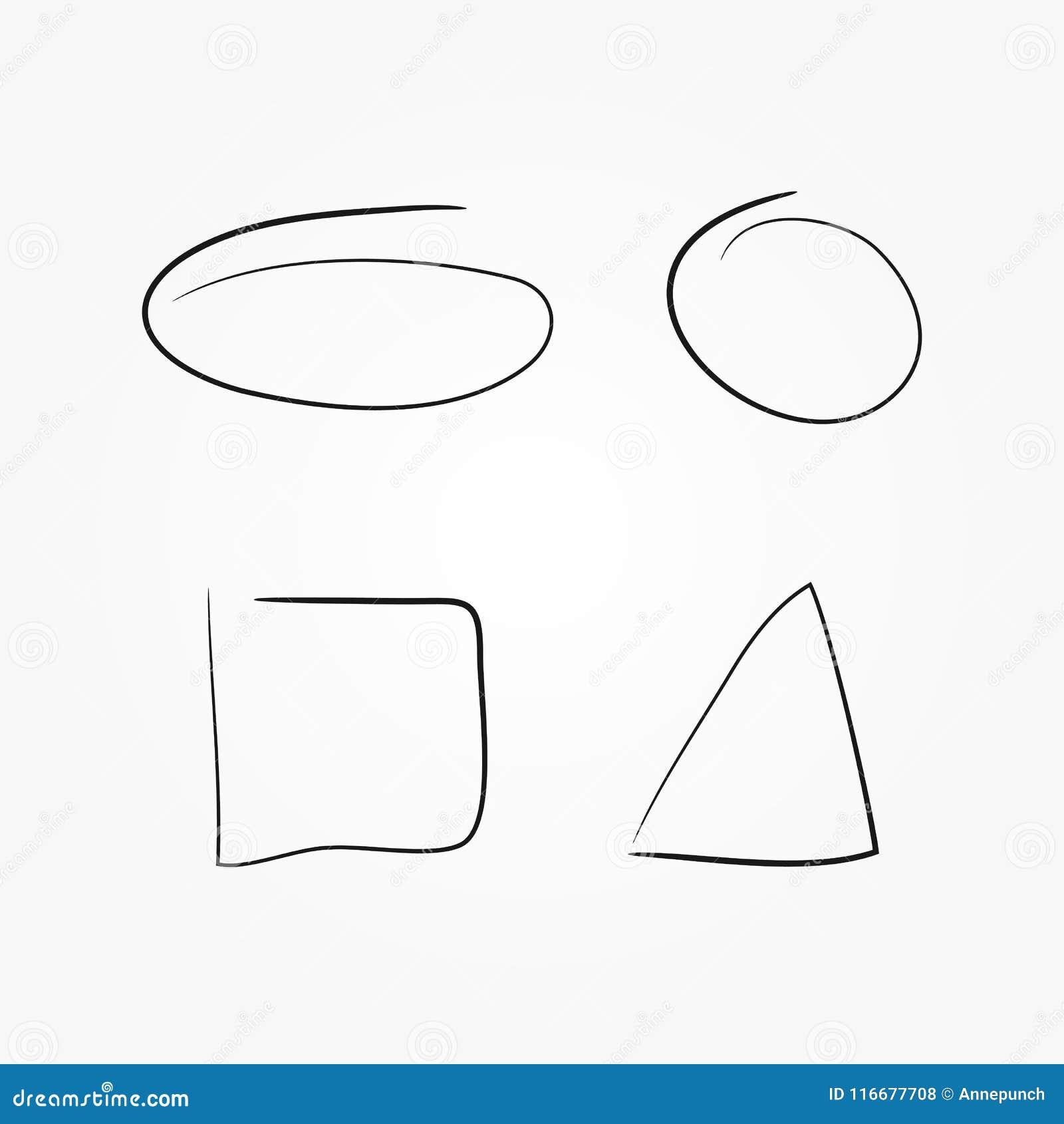 Reeks geometrische met de hand getrokken vormen Geïsoleerd ovaal, cirkel, vierkant, driehoek