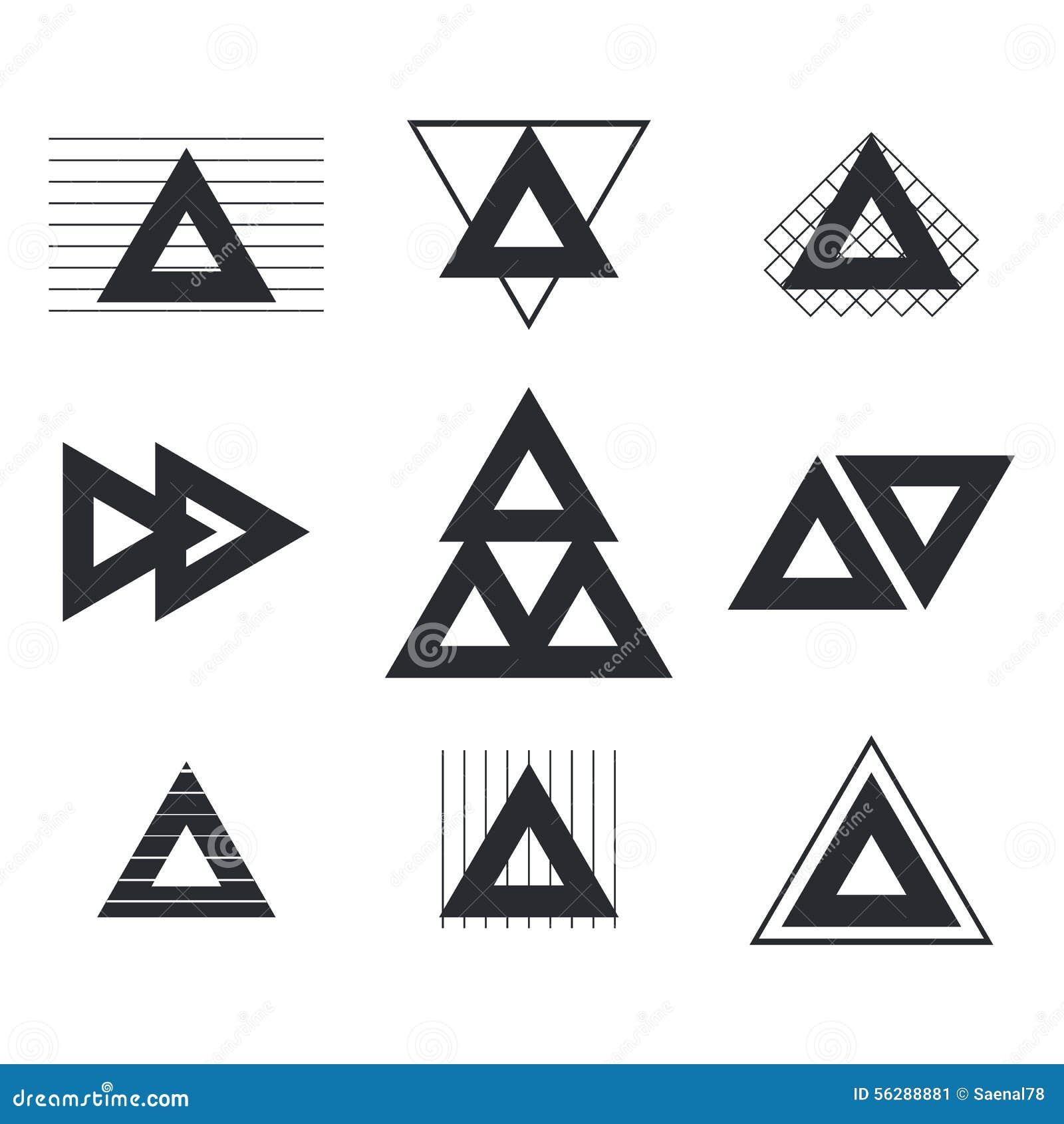 Reeks geometrische vormendriehoeken, lijnen voor uw ontwerp trendy