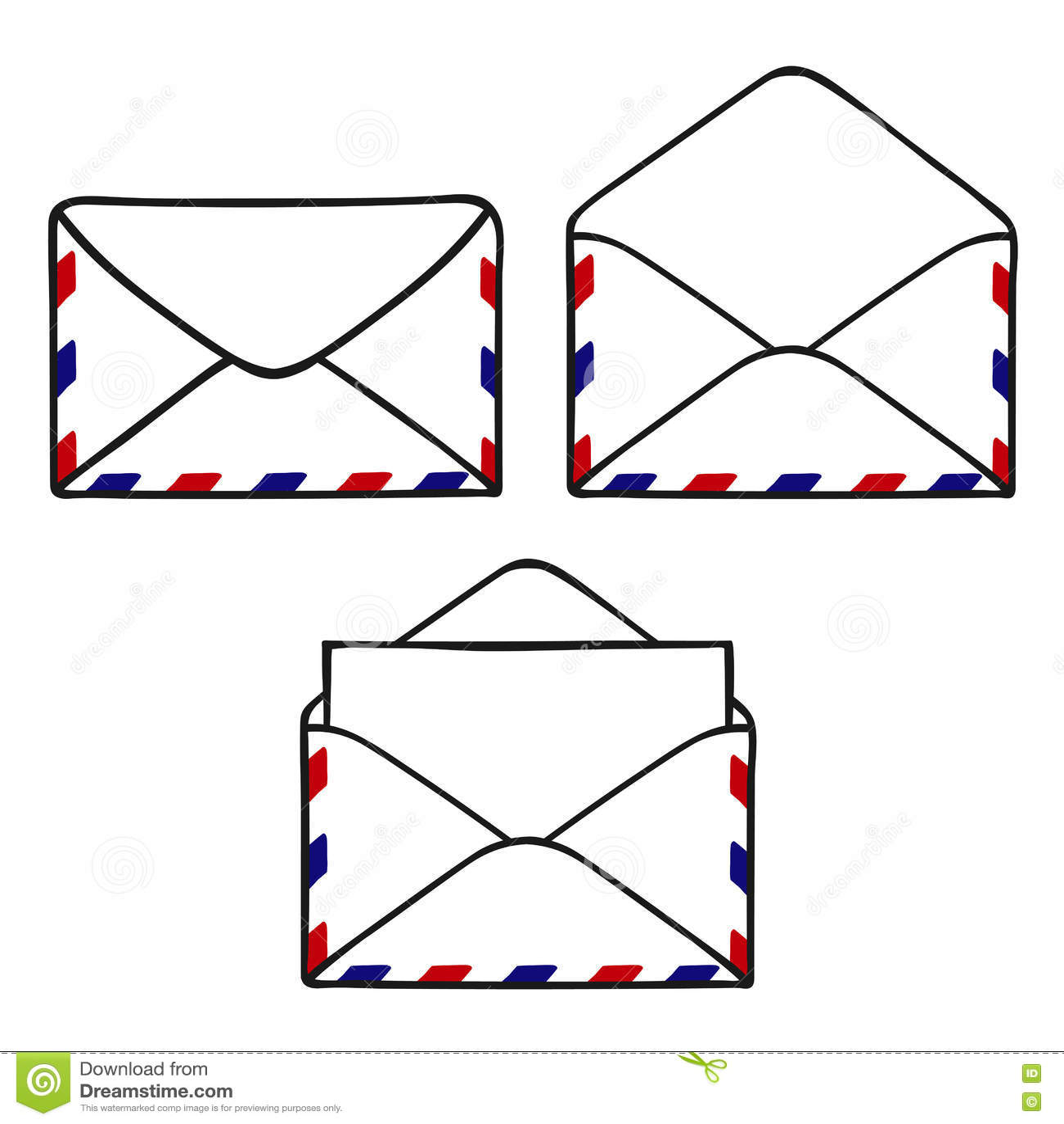 Reeks gesloten geweeste en open enveloppen