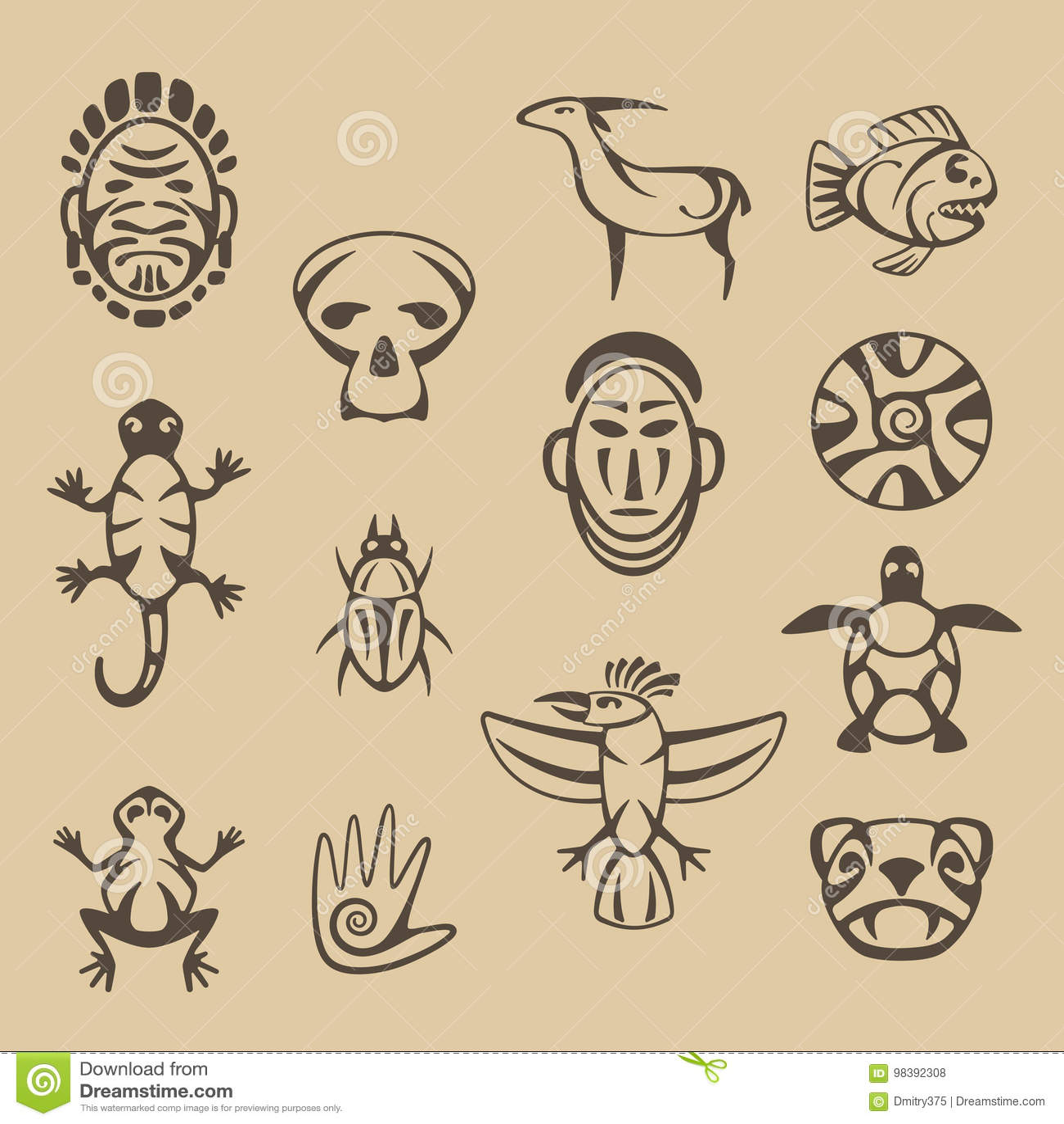 Reeks gestileerde inheemse Amerikaanse symbolen