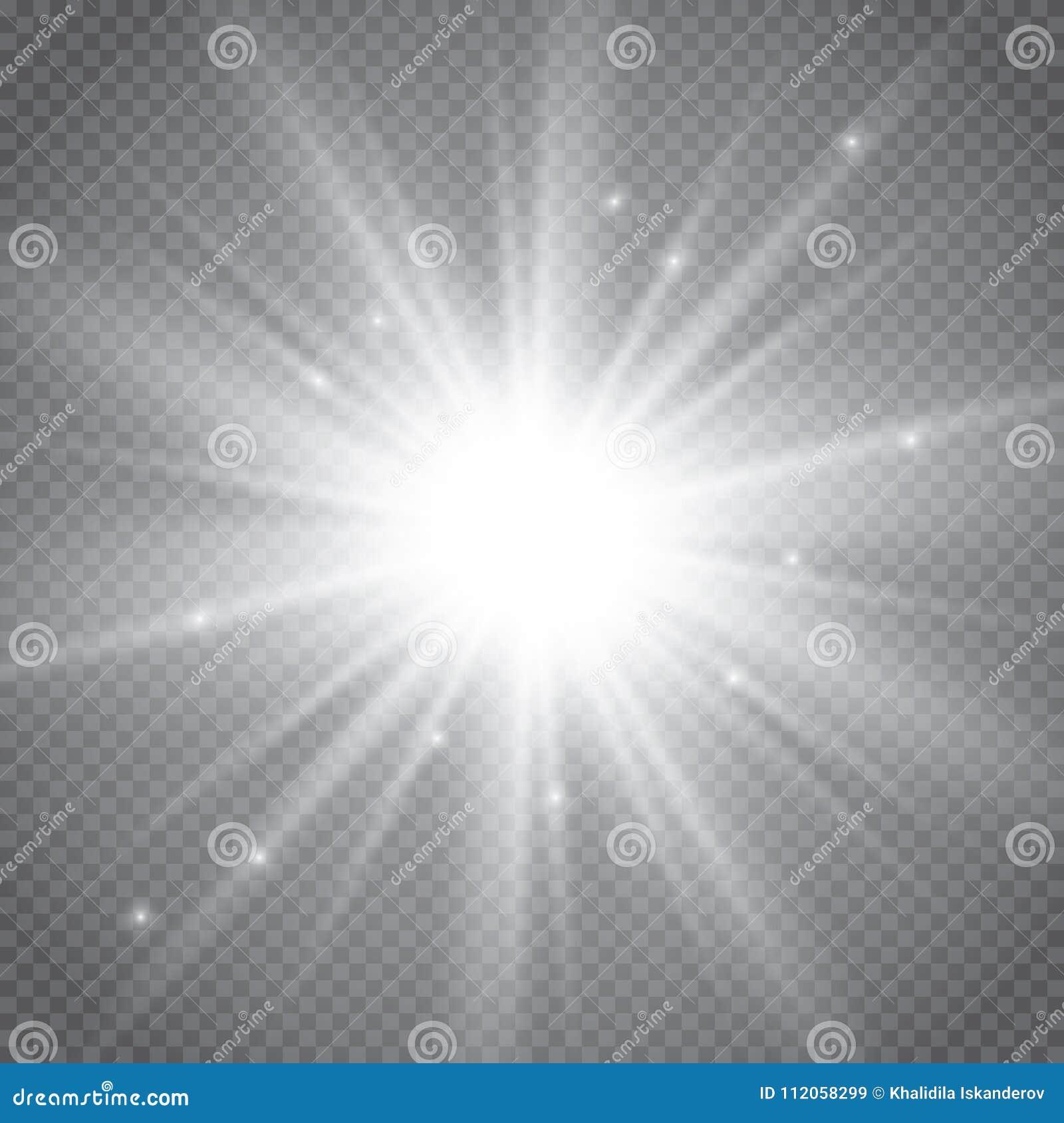 Reeks gouden het gloeien geïsoleerde lichteffecten voor transparante achtergrond Zonflits met stralen en schijnwerper Gloed licht