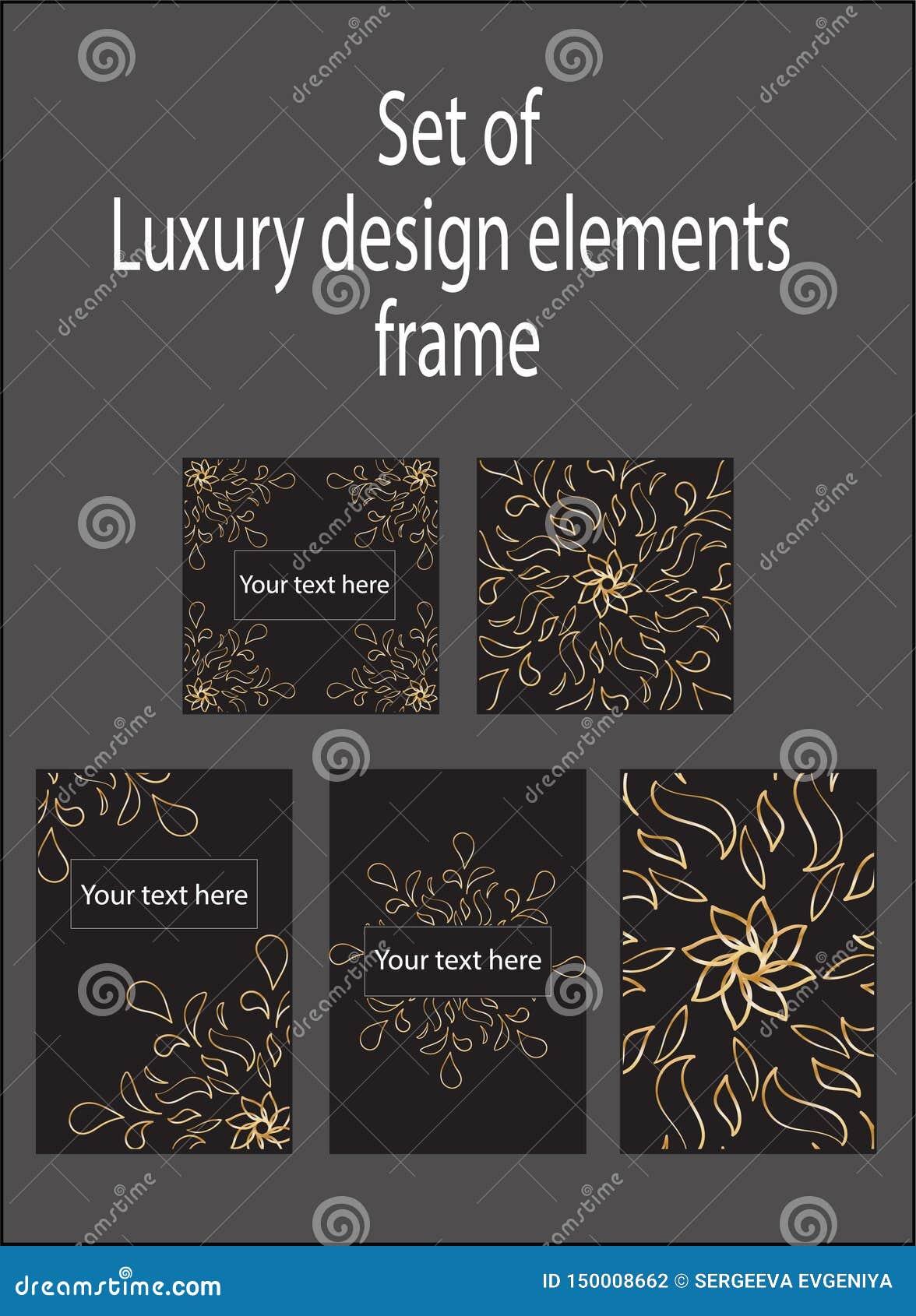 Reeks gouden zwarte decoratieve elementen van het luxeontwerp Etiketten en kaders