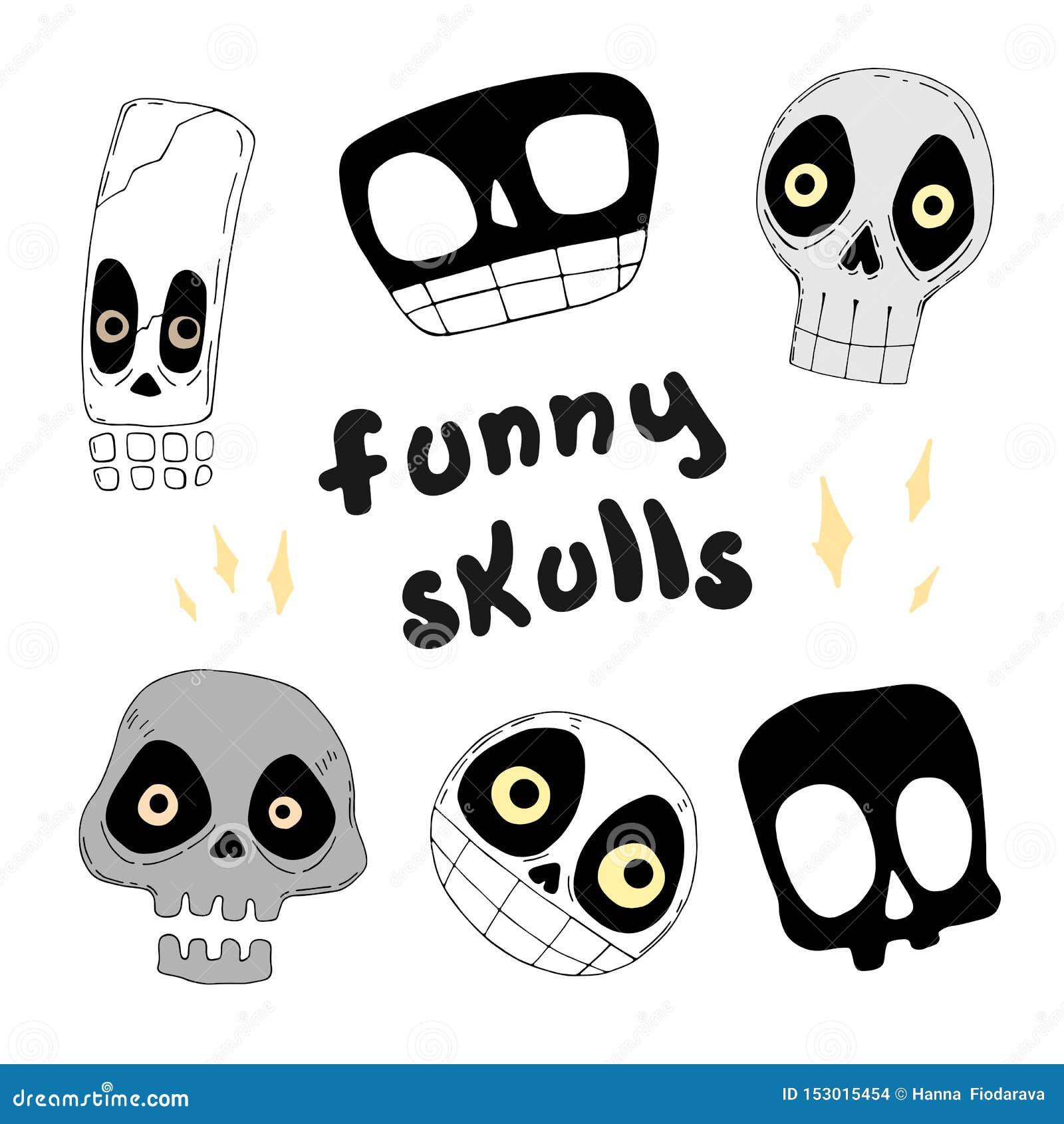 Reeks grappige schedels Vector illustratie