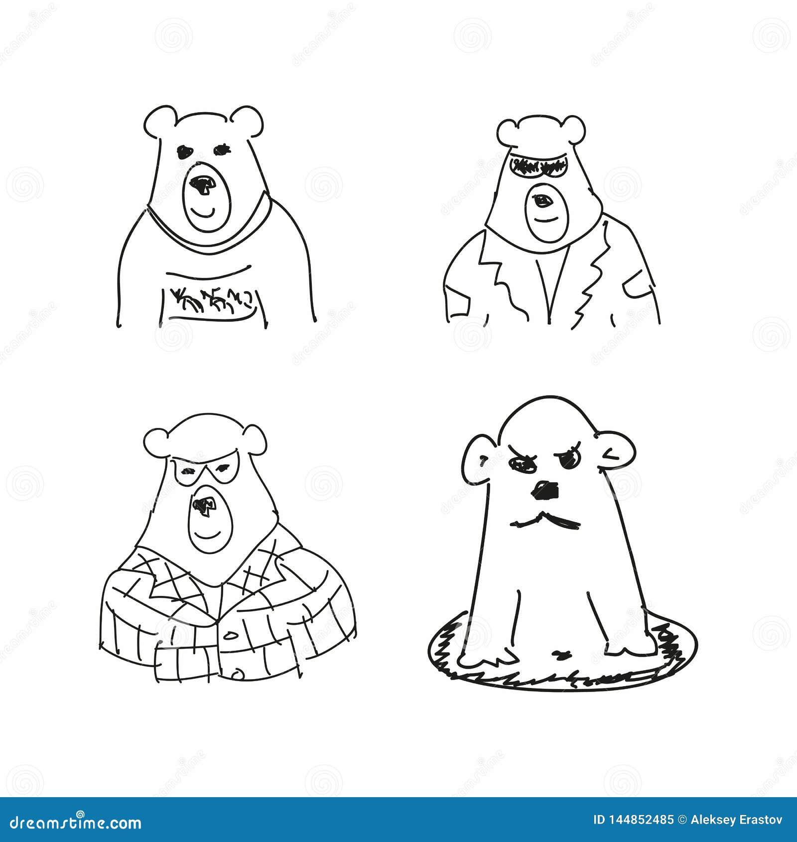 Reeks grappige schetsen van beer Imitatie van de tekeningen van kinderen Schetsmatig, gekrabbel Vector illustratie