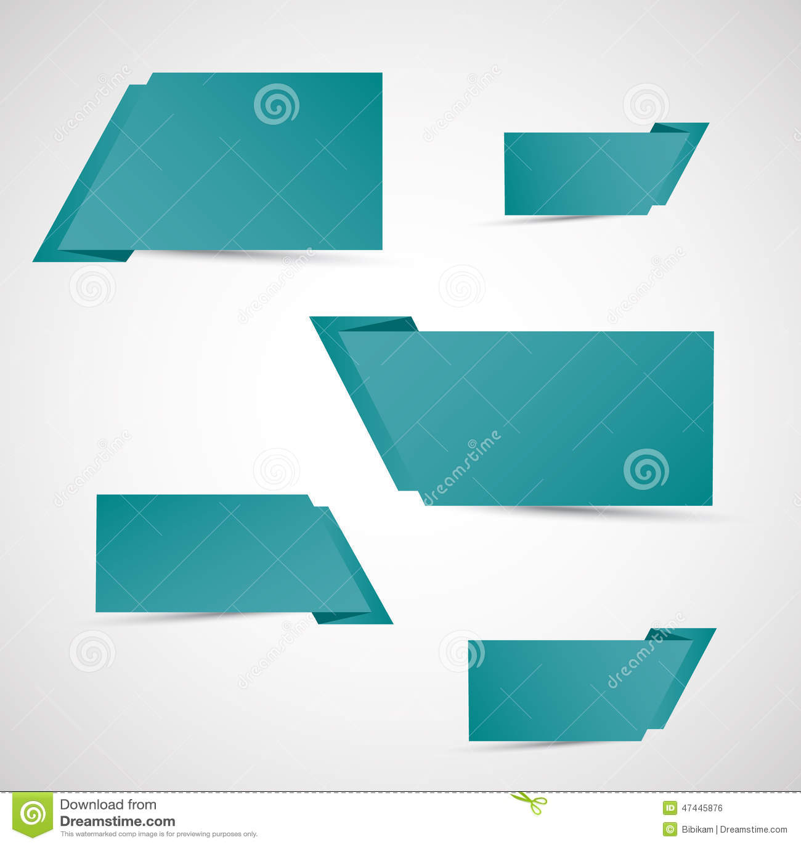 Reeks groene origamibanners
