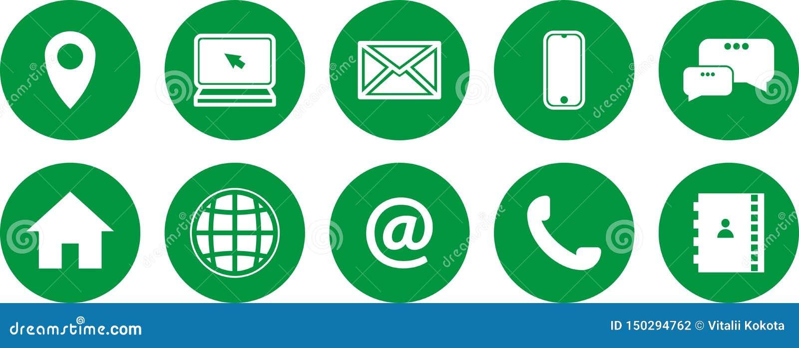 Reeks Groene Pictogrammen Communicatie pictogrammen Contacteer ons pictogrammen